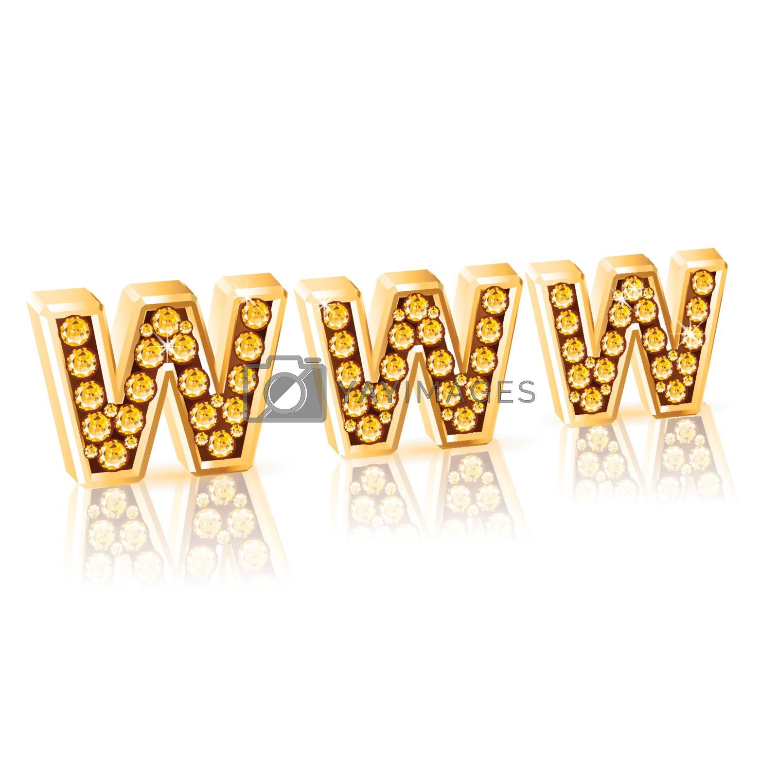 World Wide Web or WWW Diamond alphabet letters
