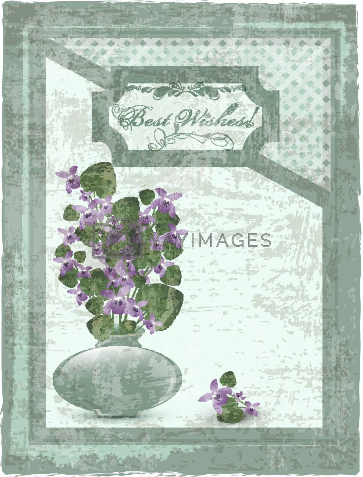 Best Wishes postcard with bunch of wild violet at grunge background