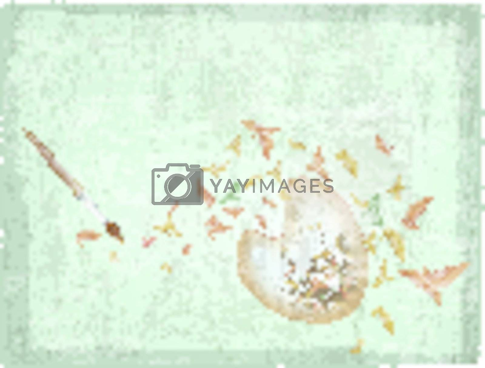 abstract autumn palette with paintbrush and yellow leaves over grunge background