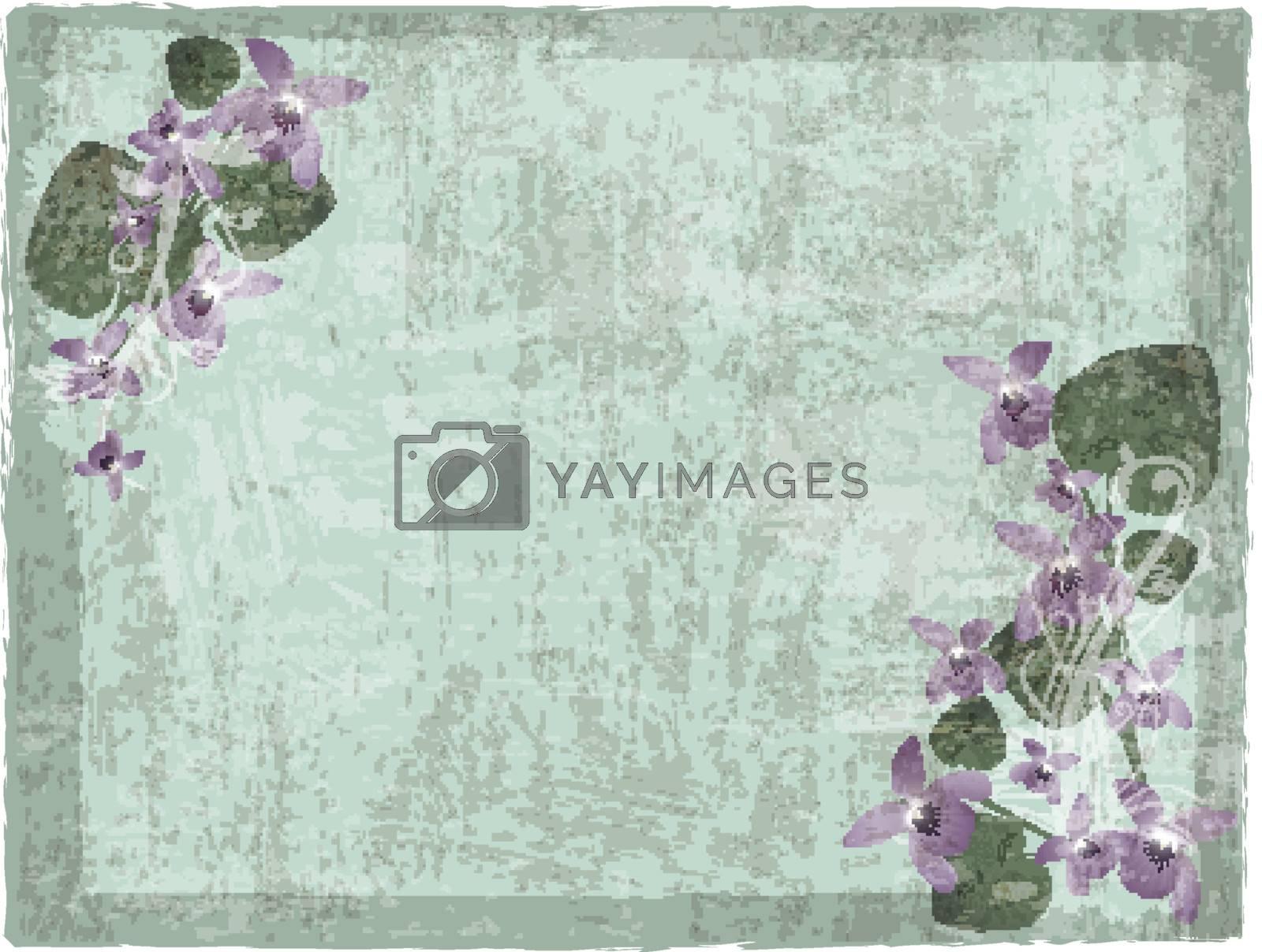 Vintage grunge floral background with wild violet flowers