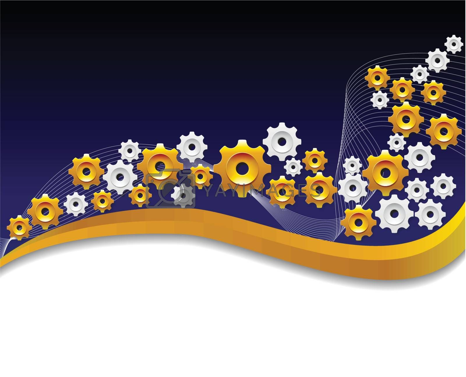 Background with the gold gears