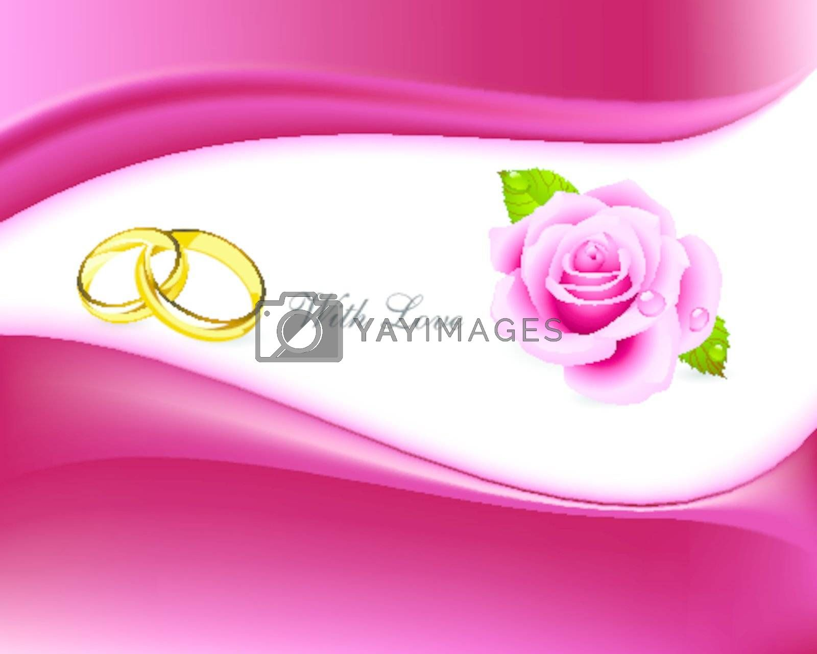 rings and roses with love background