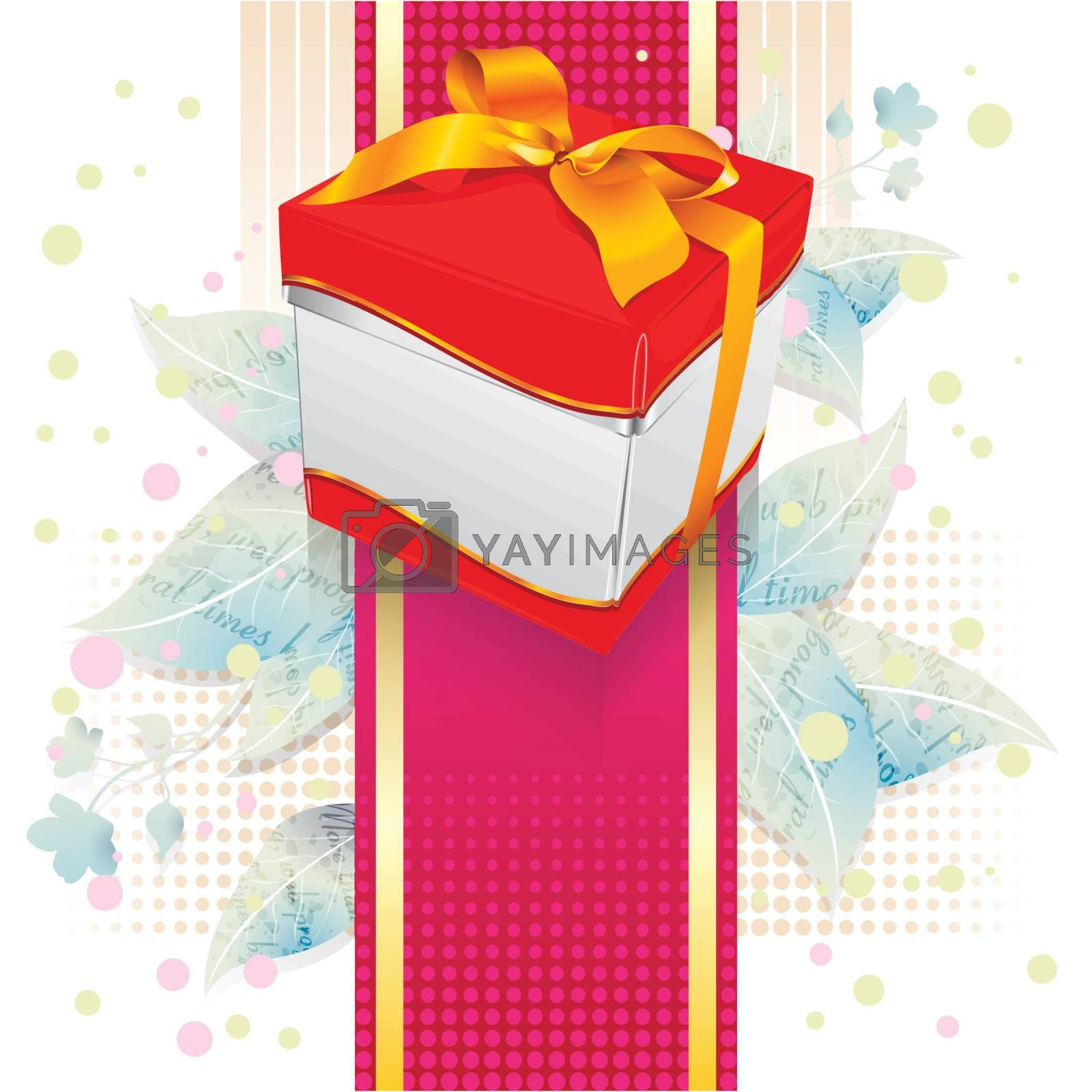 gift box on leaves and colorful background