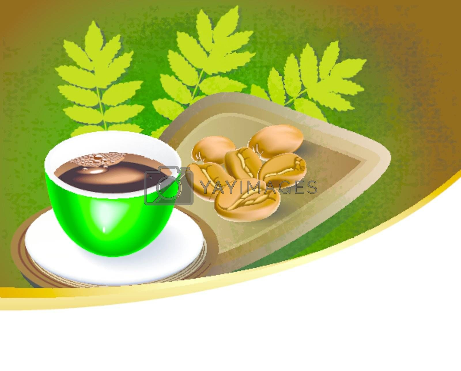 cup of coffee with coffee beans background