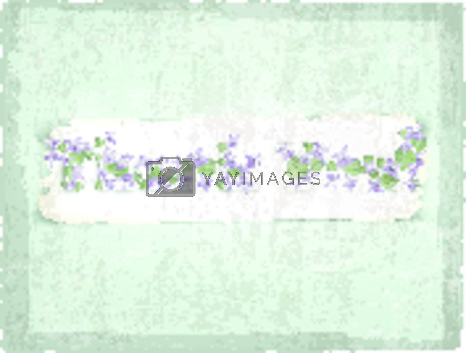 Thank you! Greeting card with violet flowers over grunge background