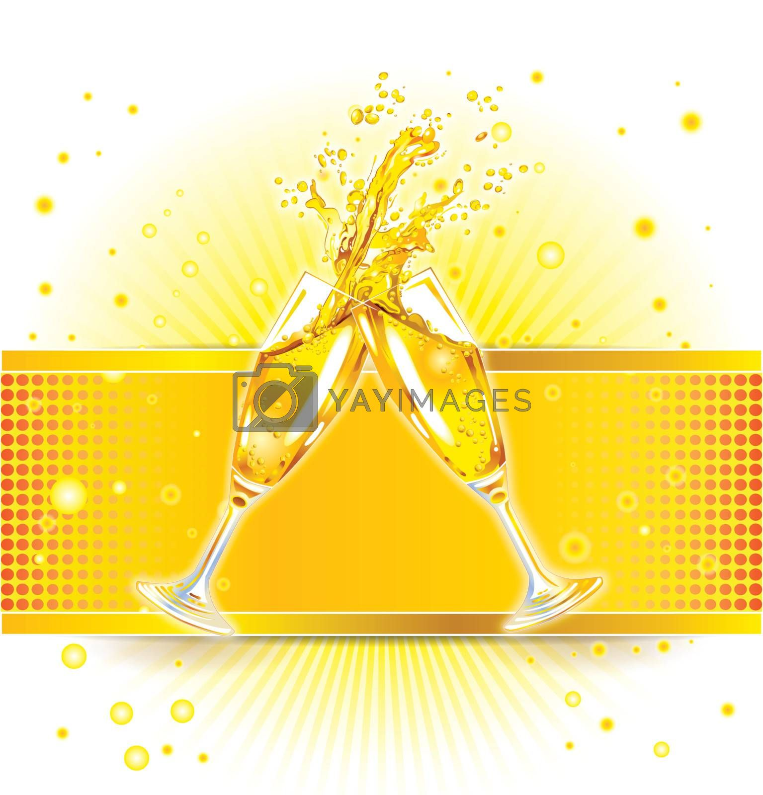 two clinking glasses with champagne on colorful background