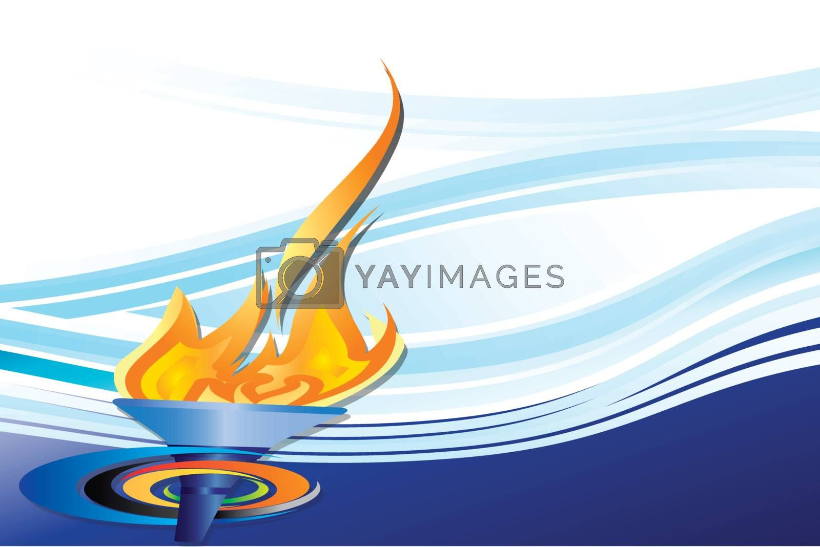 Olympic torch on blue background