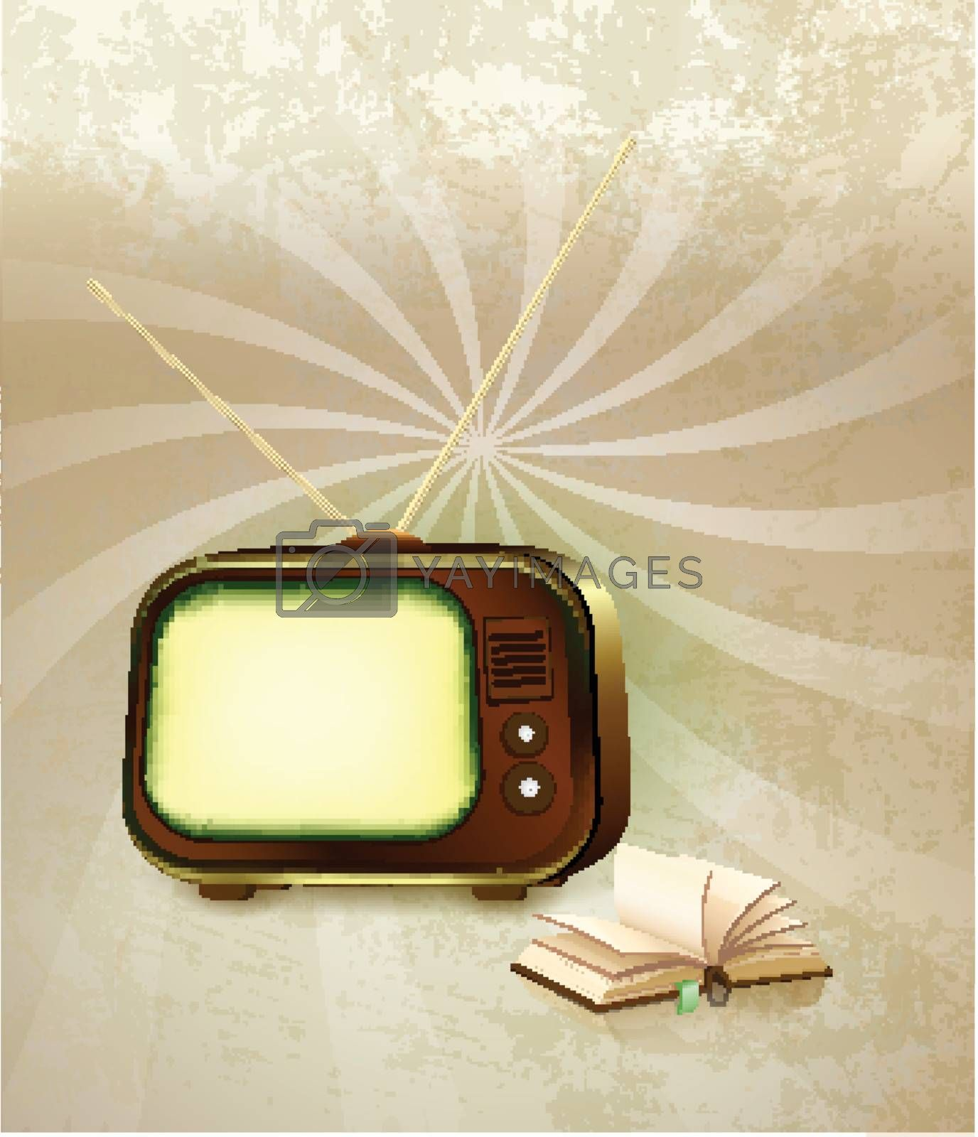 Old Retro TV with book background