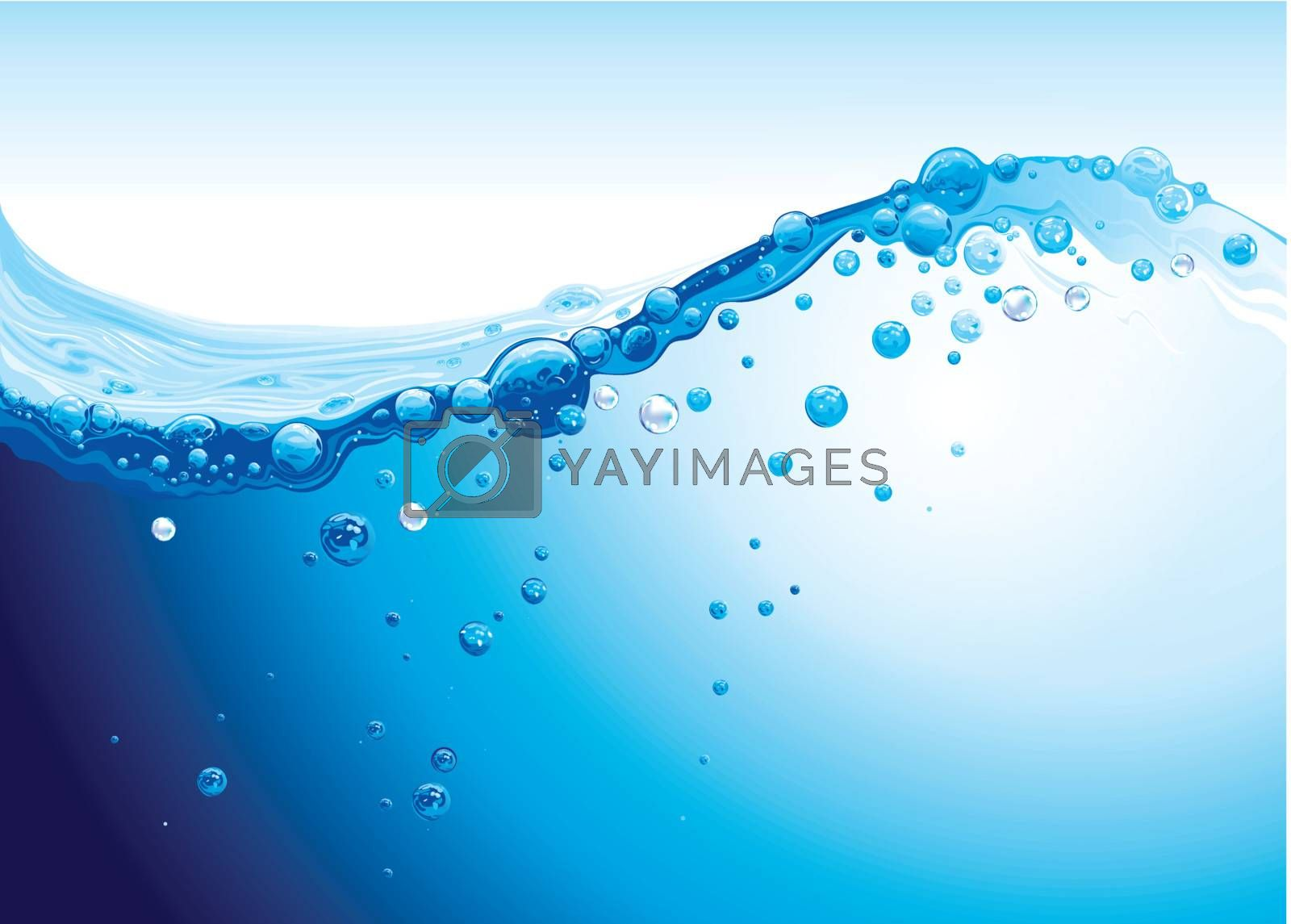 Royalty free image of strong water splashing with bubbles of air background by nirots