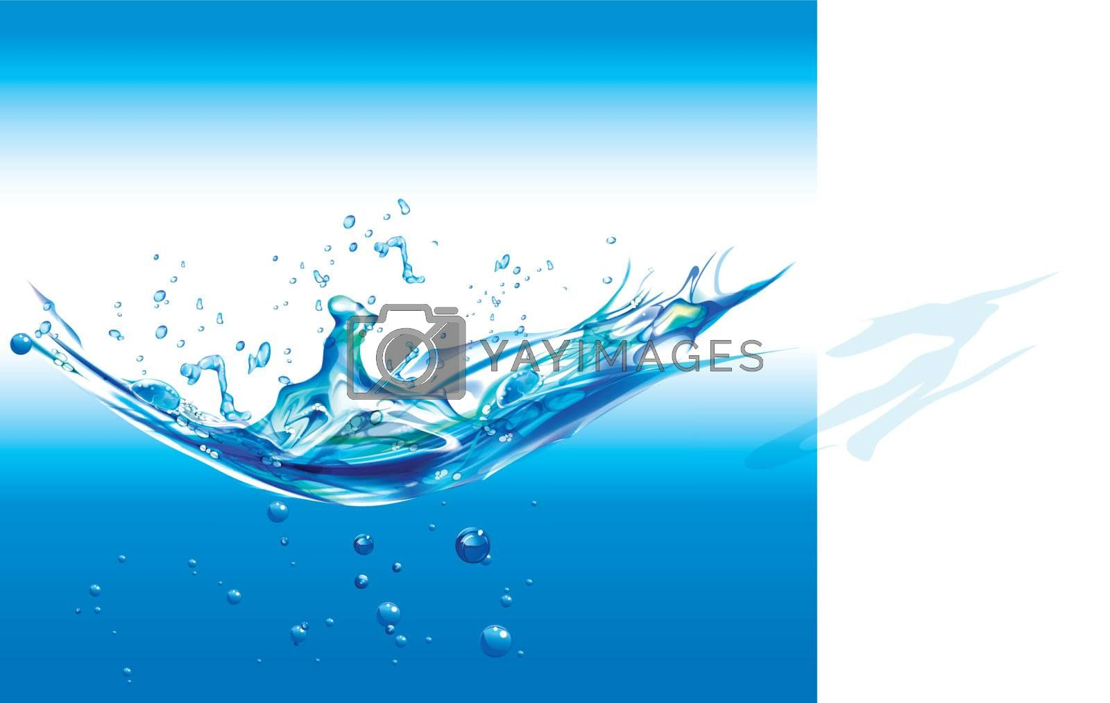stream of pure water on white background