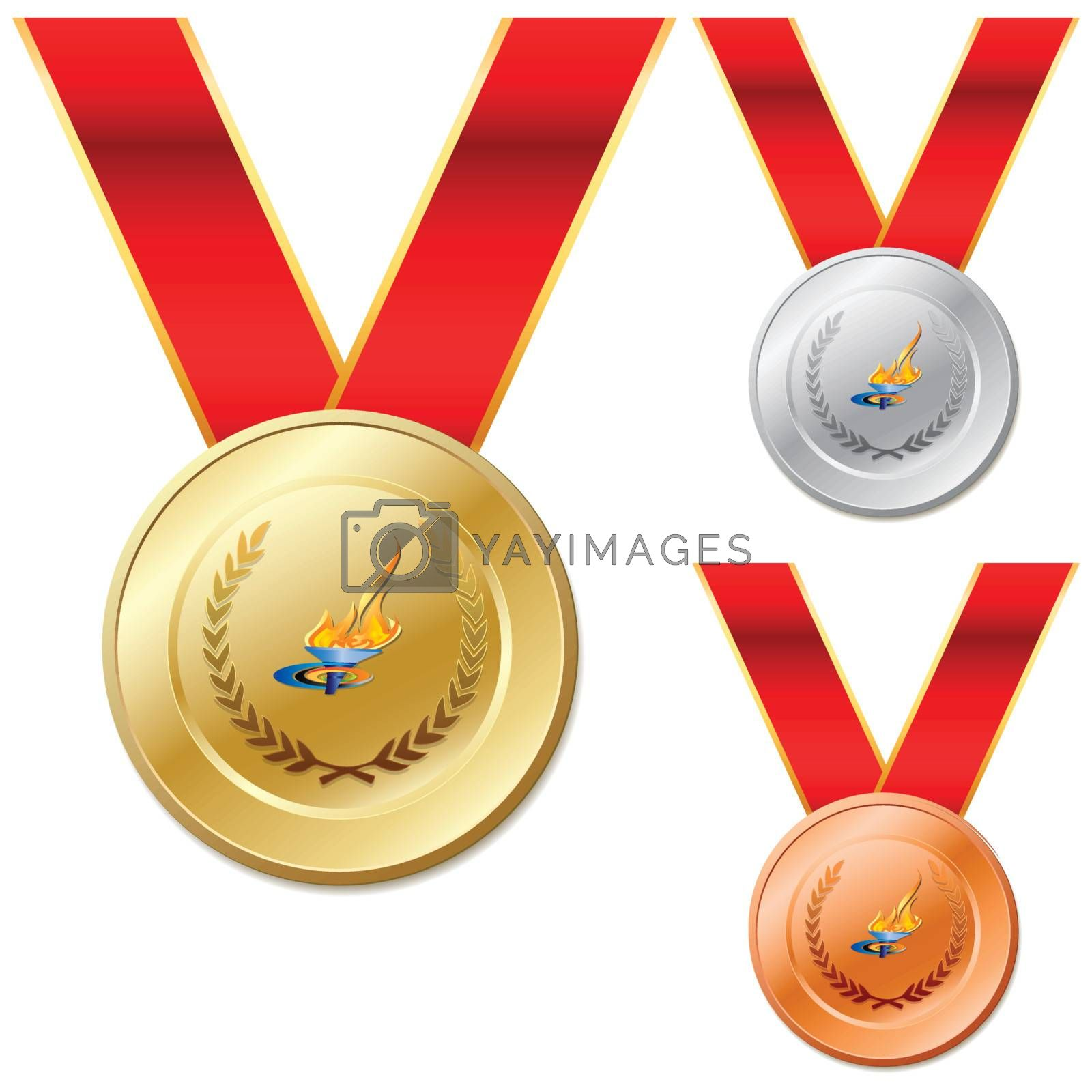 Set of gold silver bronze medals with ribbon white background