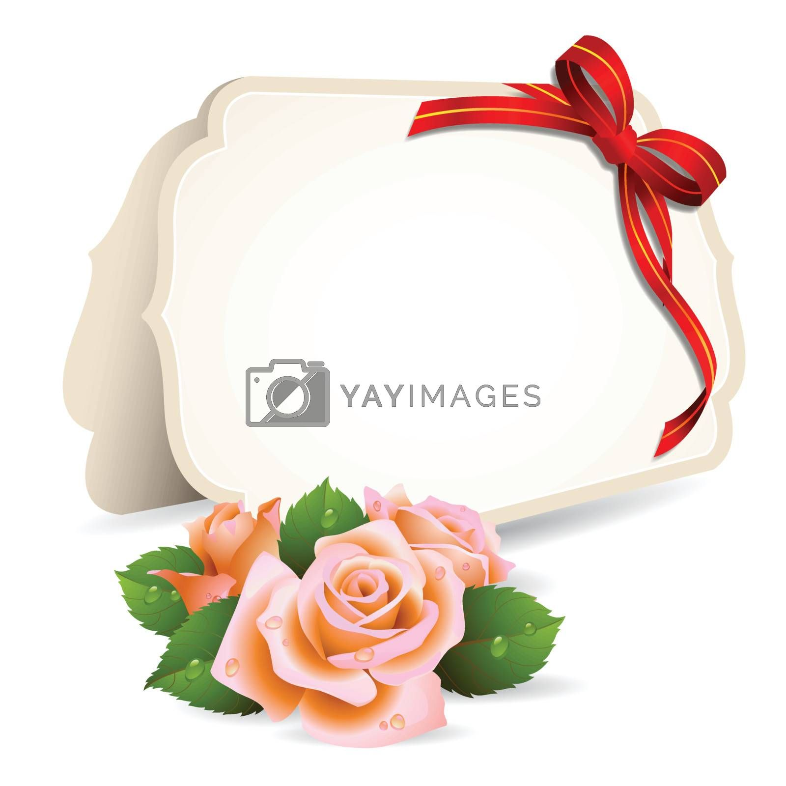 Blank invitation card and roses on background