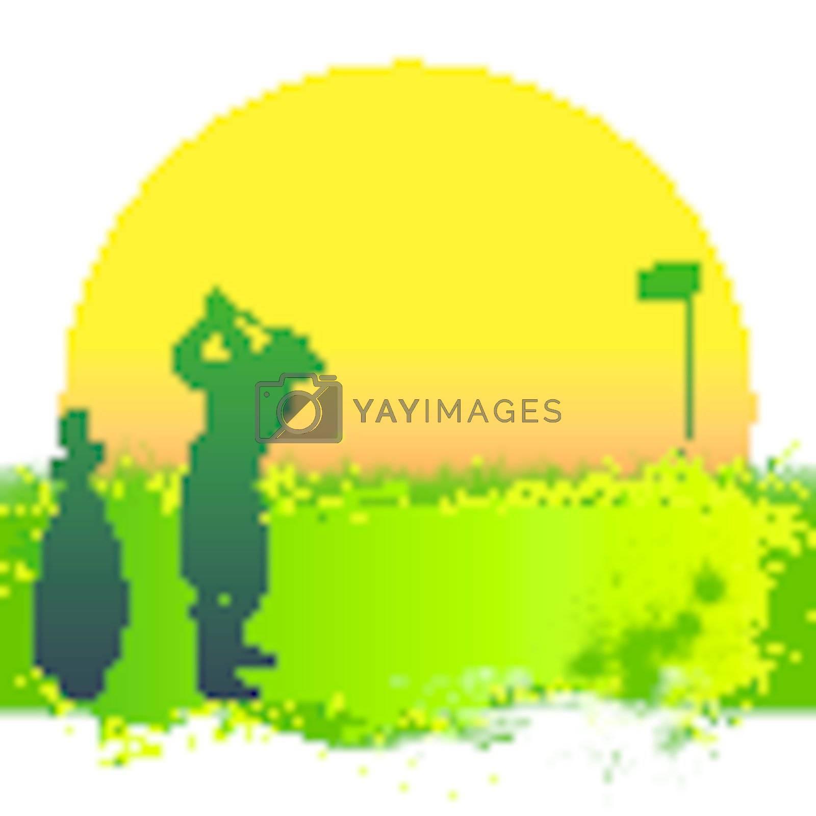 Illustration of green golf and sun banner flag glof bag golfer