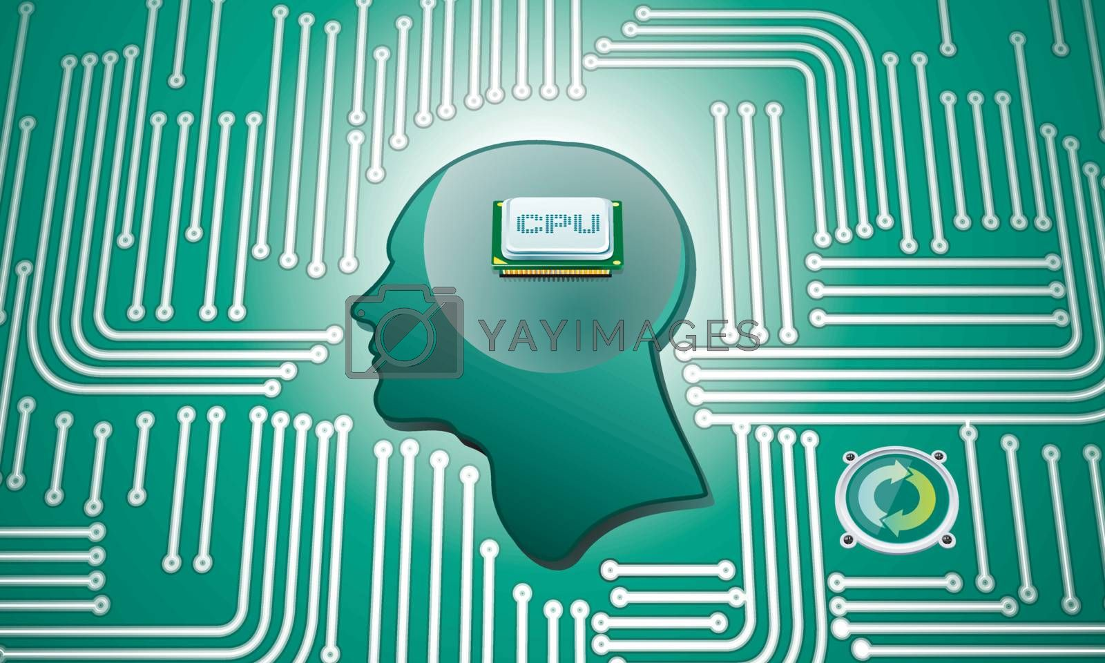 CPU Chip in human head whit circuit background
