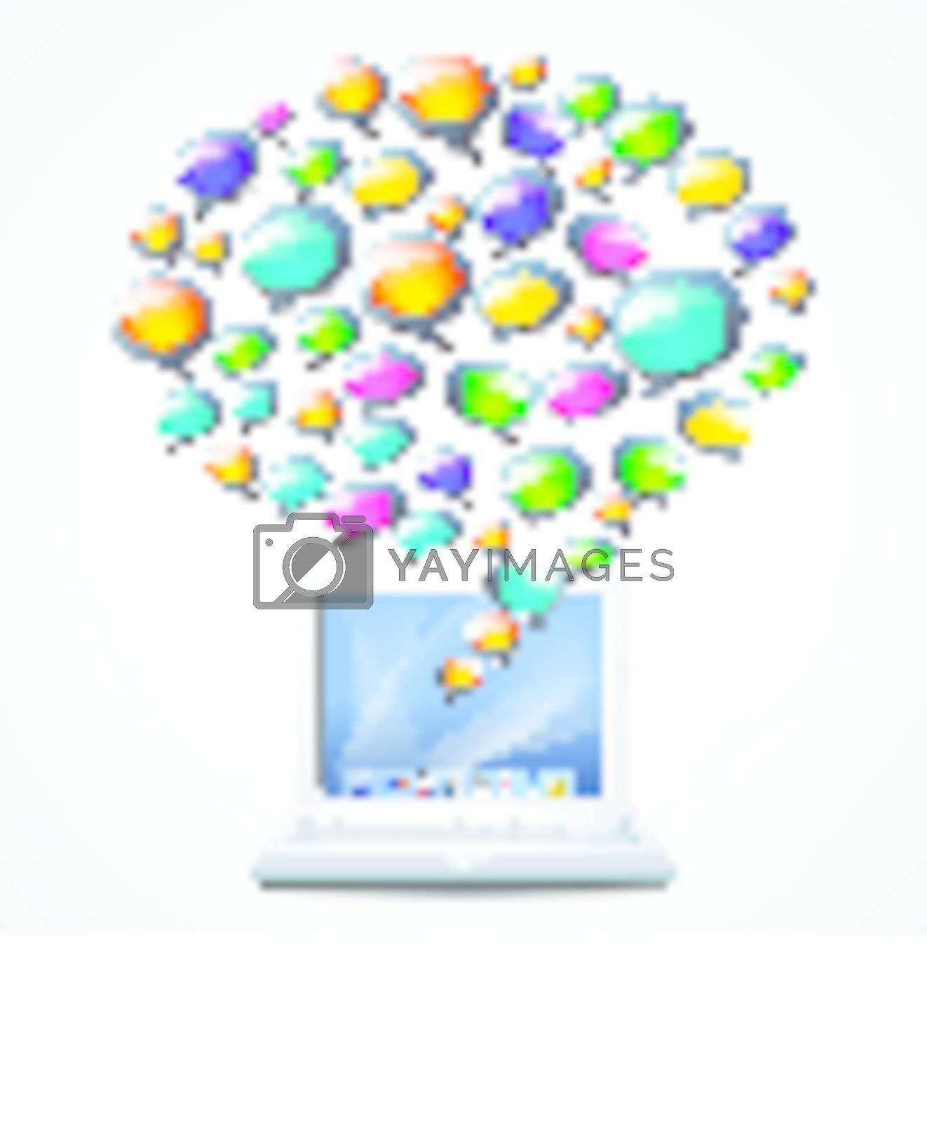 Laptop with colorful coloured speech bubbles on white background