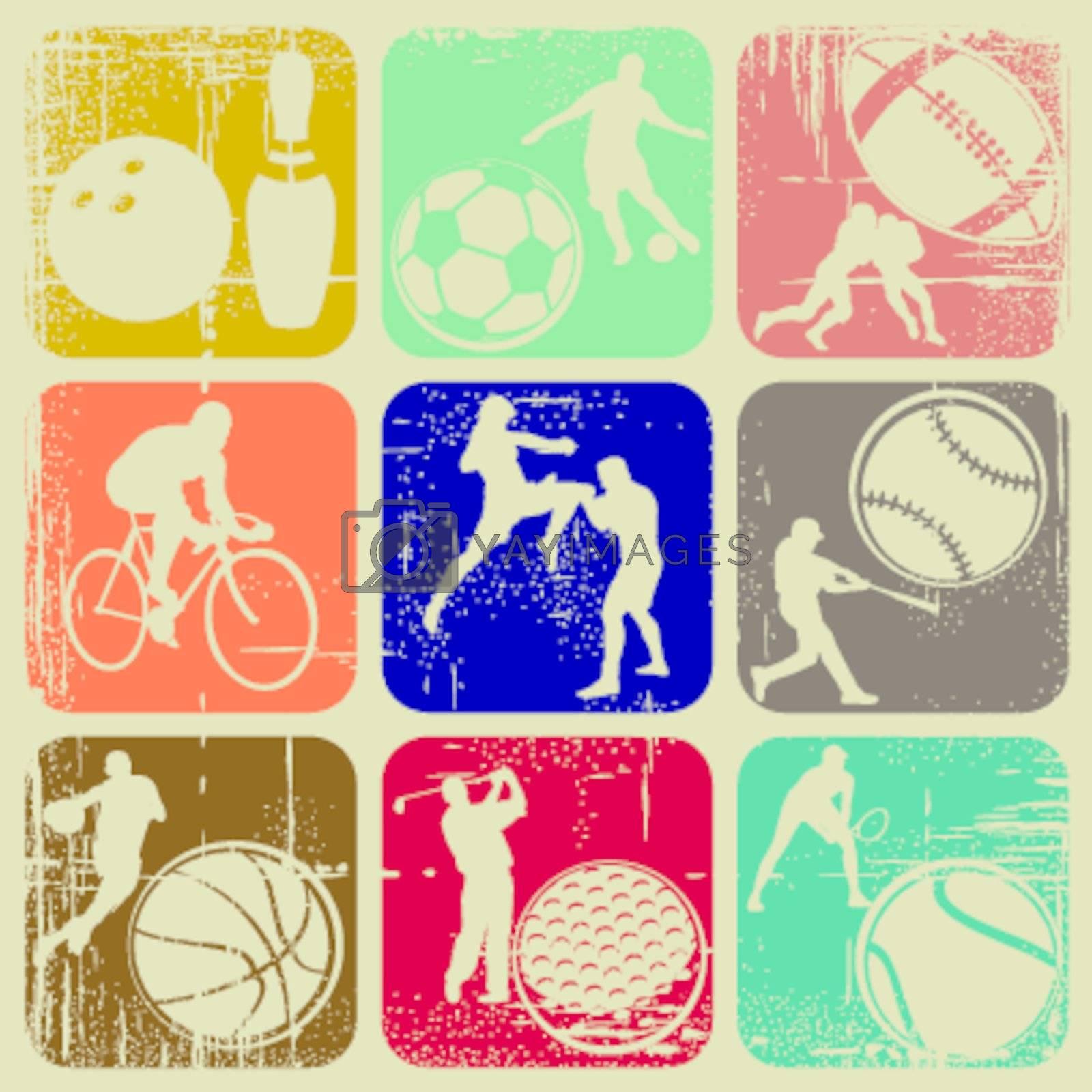 illustration set of sports banners on grunge background