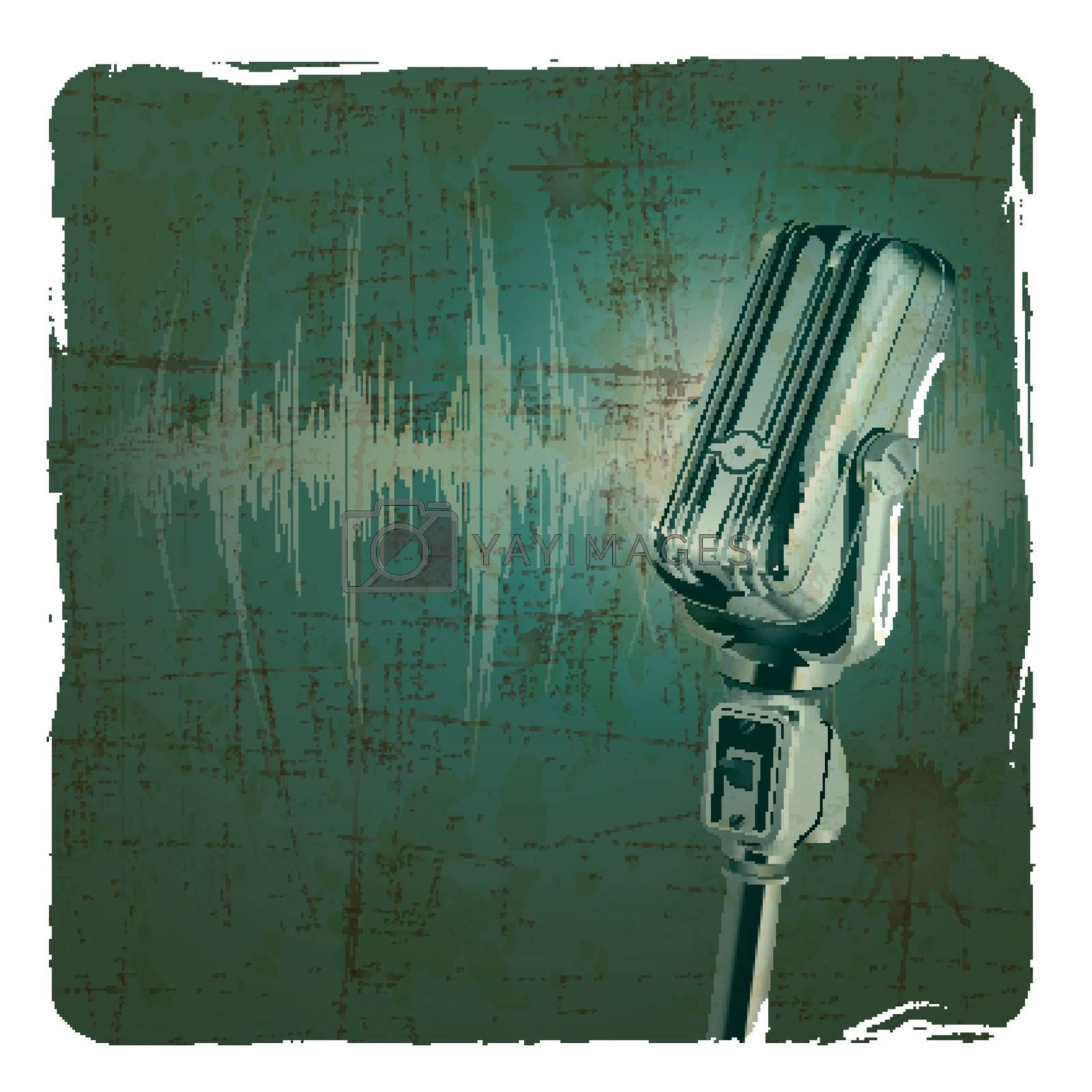 Microphone retro vintage grunge background
