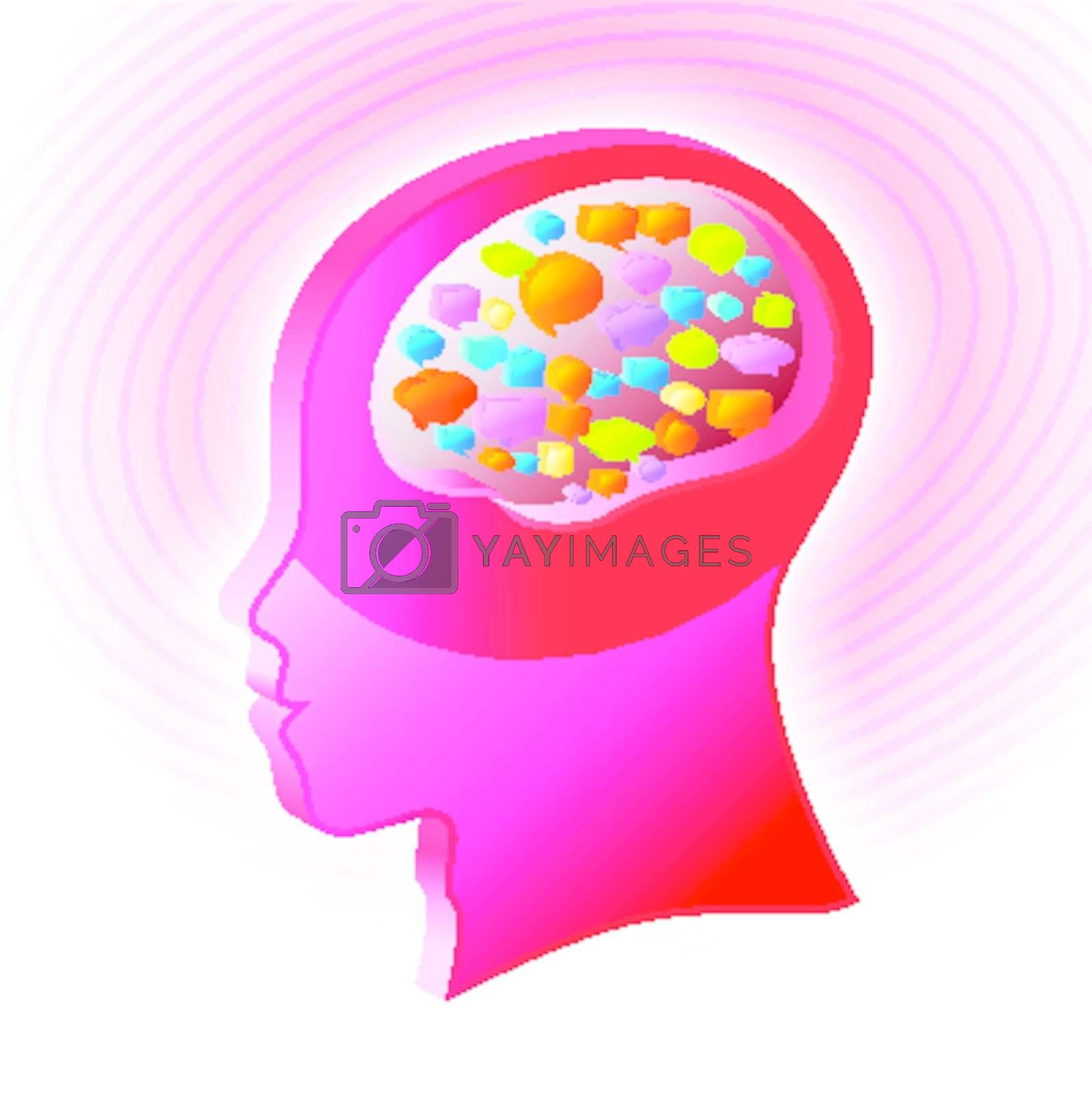 3d render of human head with talk icon