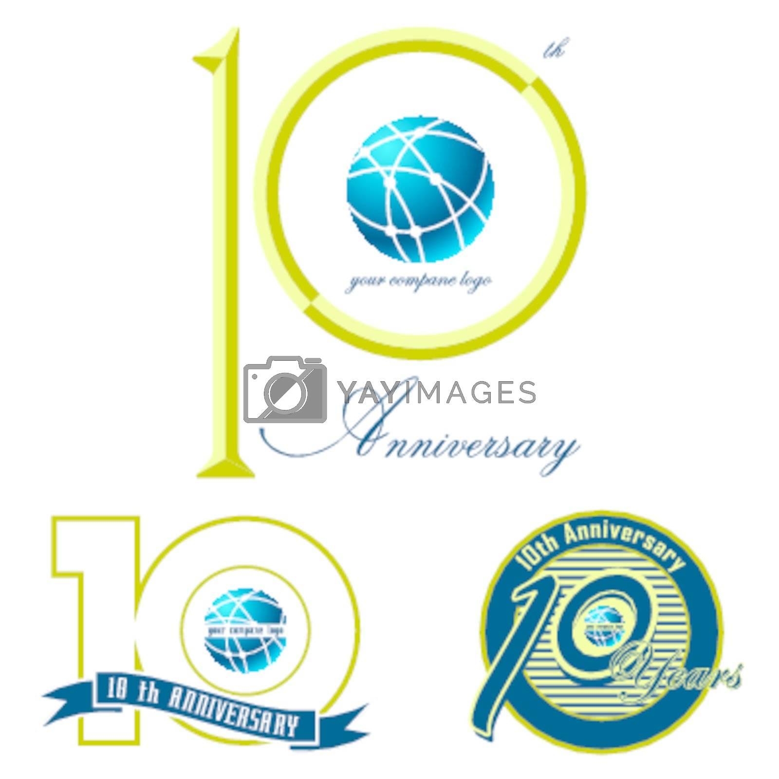 set of 10th anniversary mark illustration design on white
