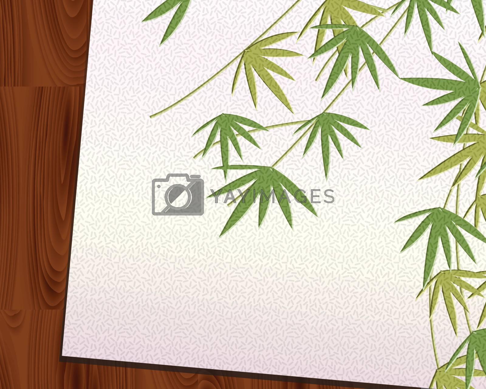 Bamboo leaf imprint on Japanese paper put on Wood