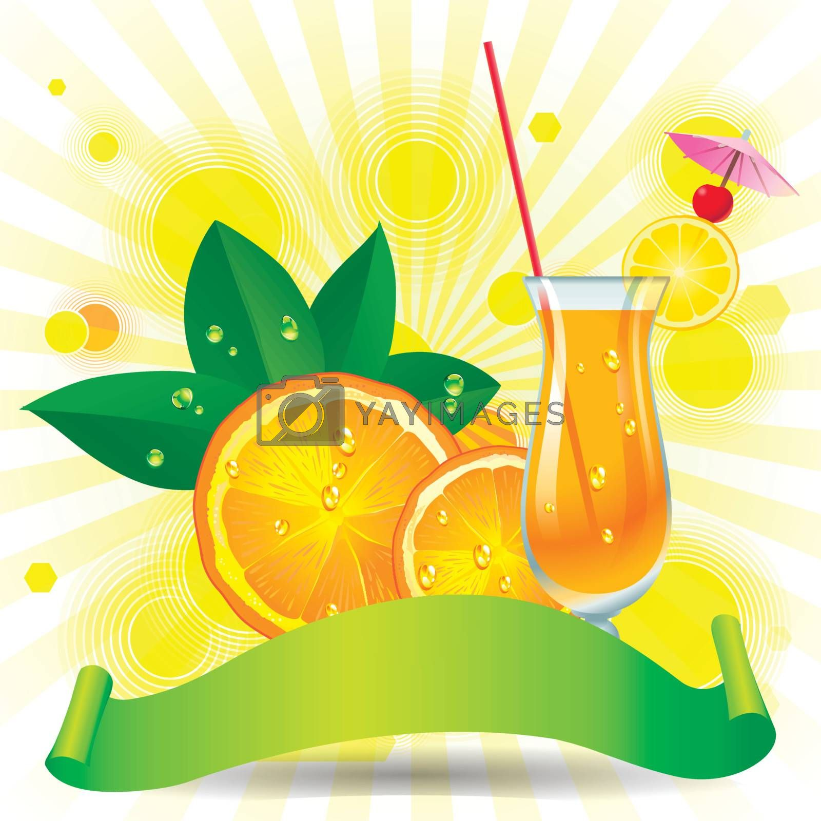 Glass of orange juice with slices orange and sun backgroung
