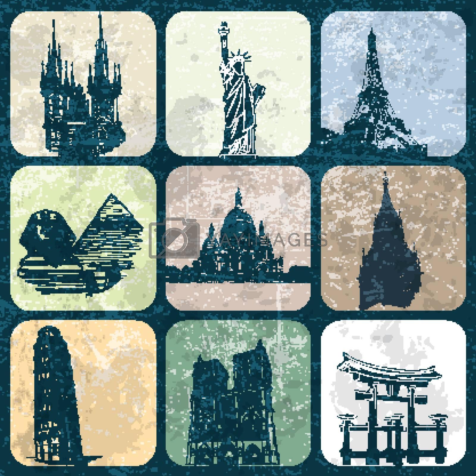 Landmark Europe and Asia on grunge background