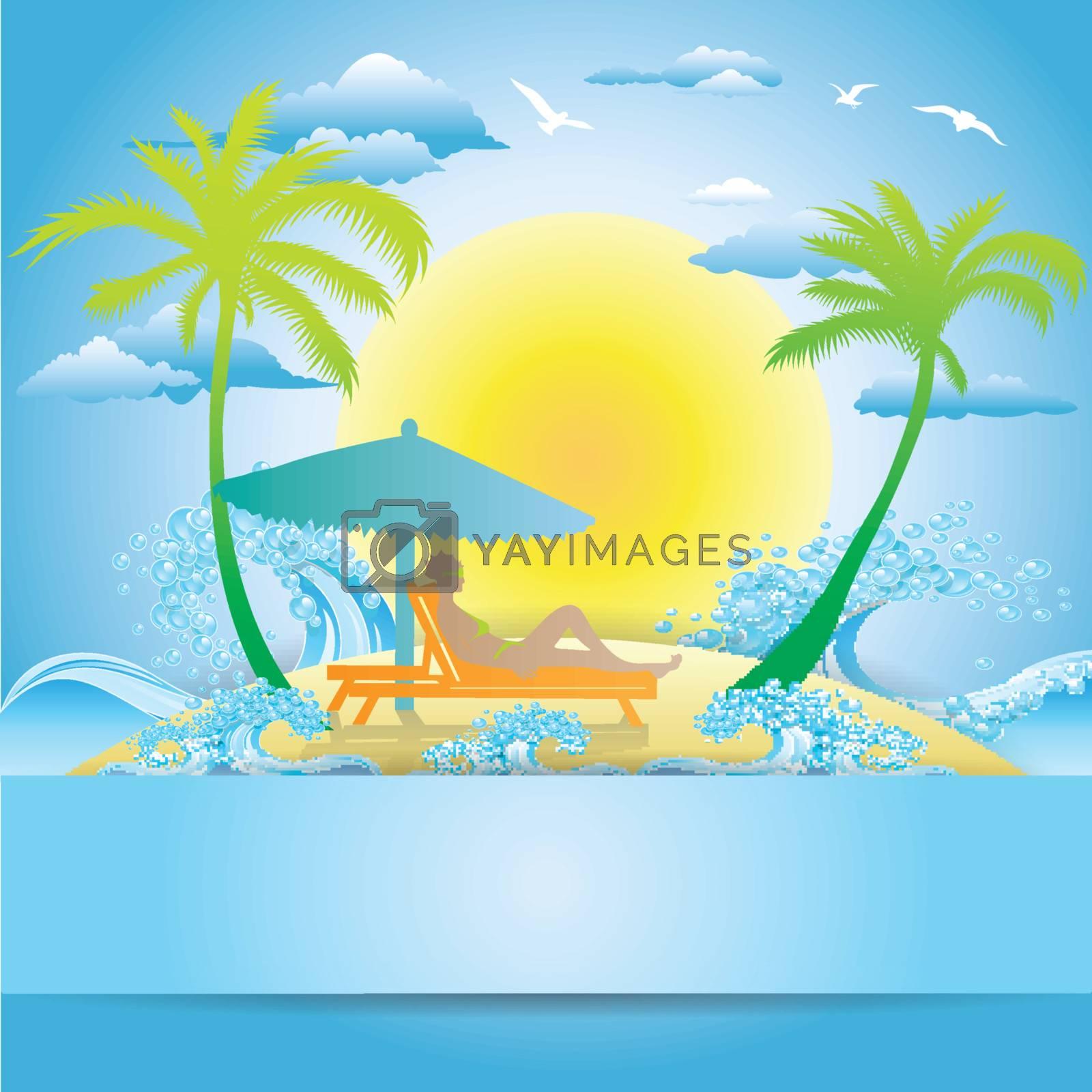 woman sunbathing in lounge on small island