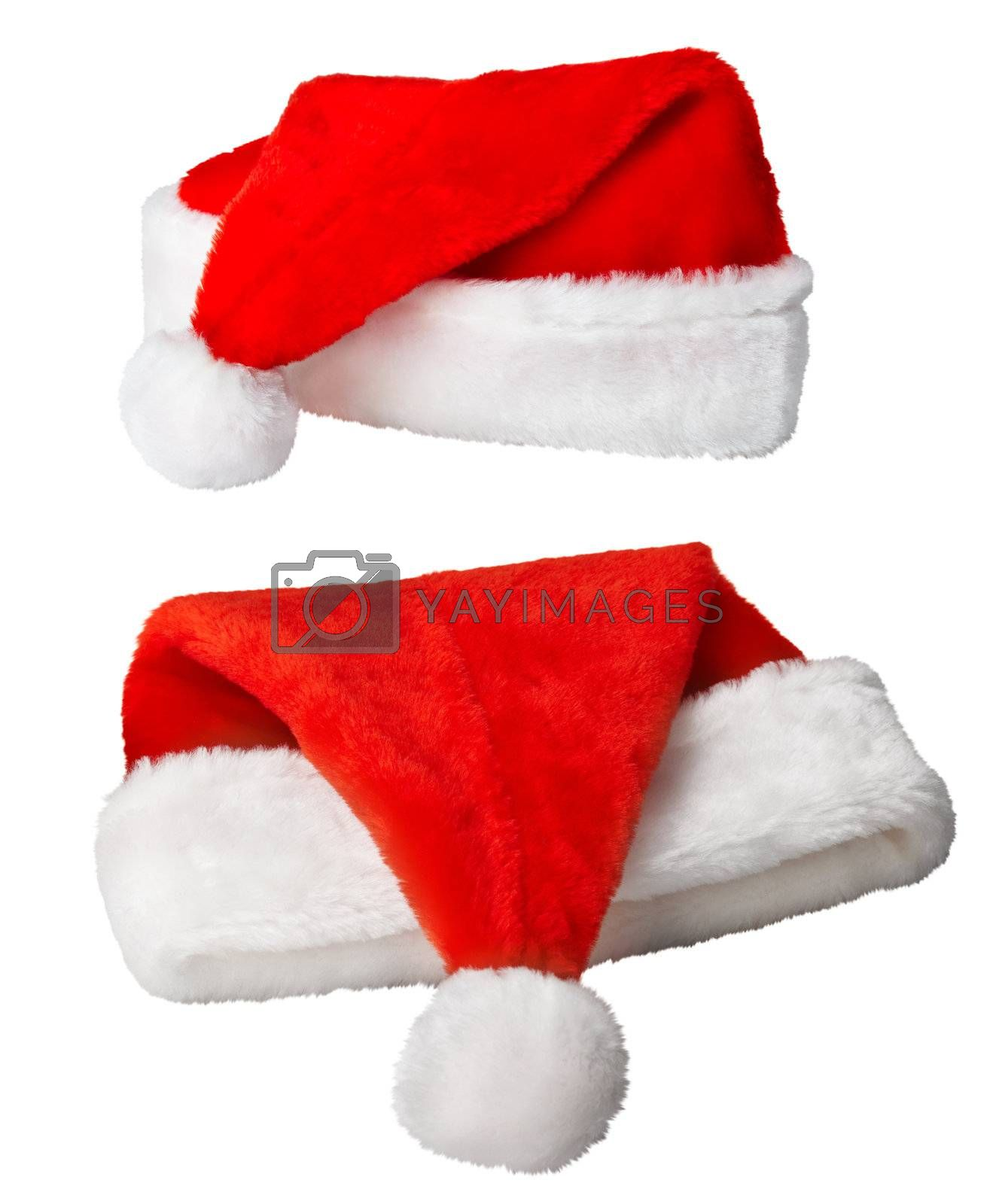 Christmas Santa Claus red hats on white by pzaxe