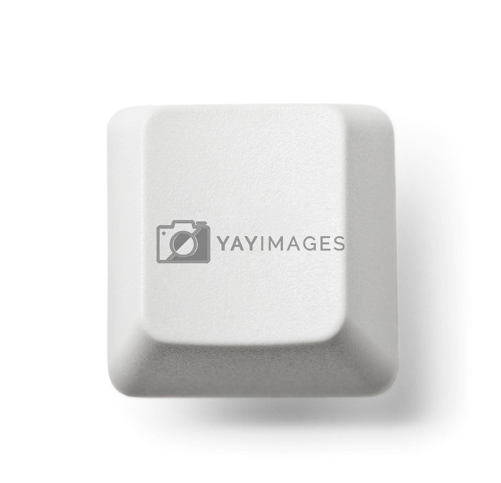 Blank computer key on white background