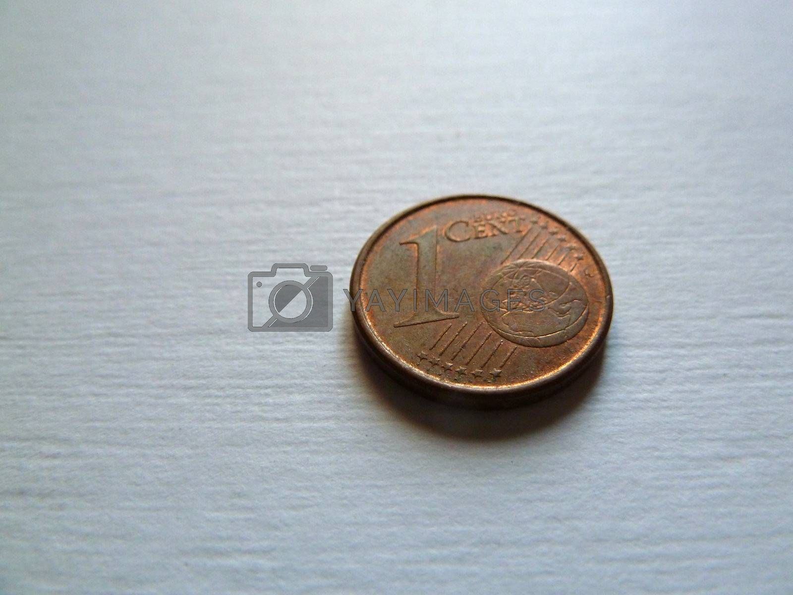 single coin on a white background