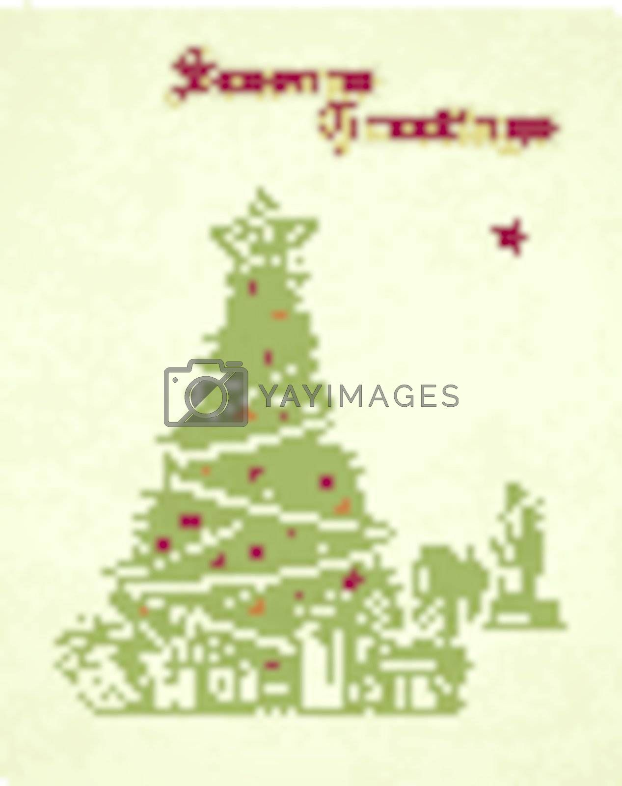 hand drawn vintage christmas tree seasons greetings card