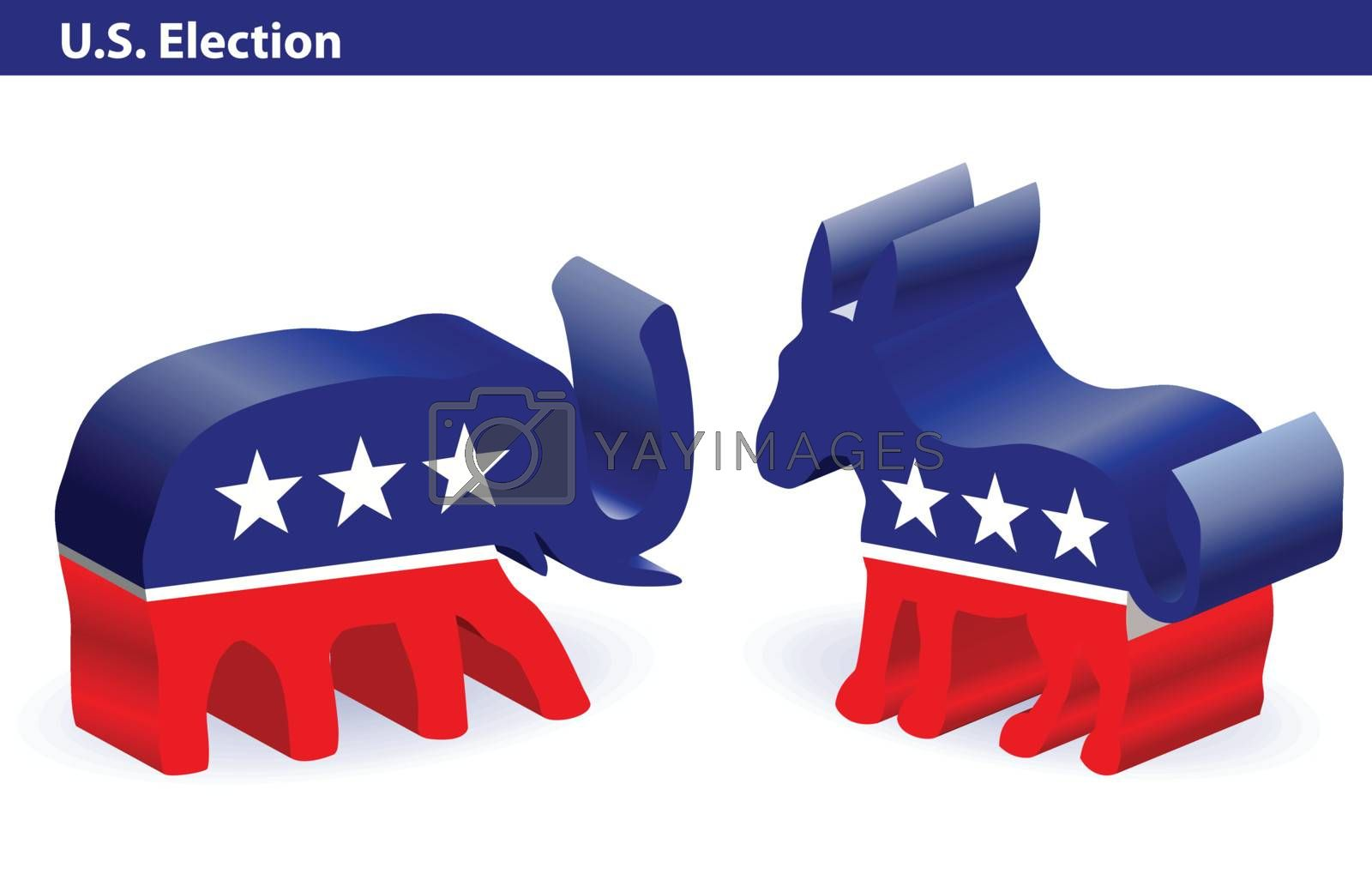democrat donkey and republican elephant in 3D on white