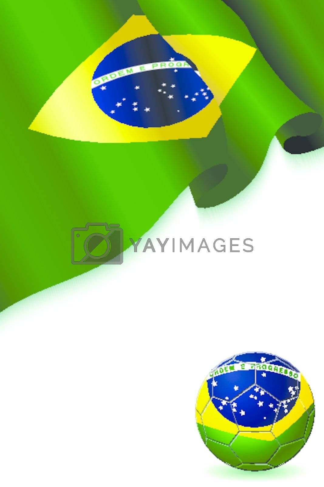 floating, streaming Flag of Brazil with Barsil soccer Football