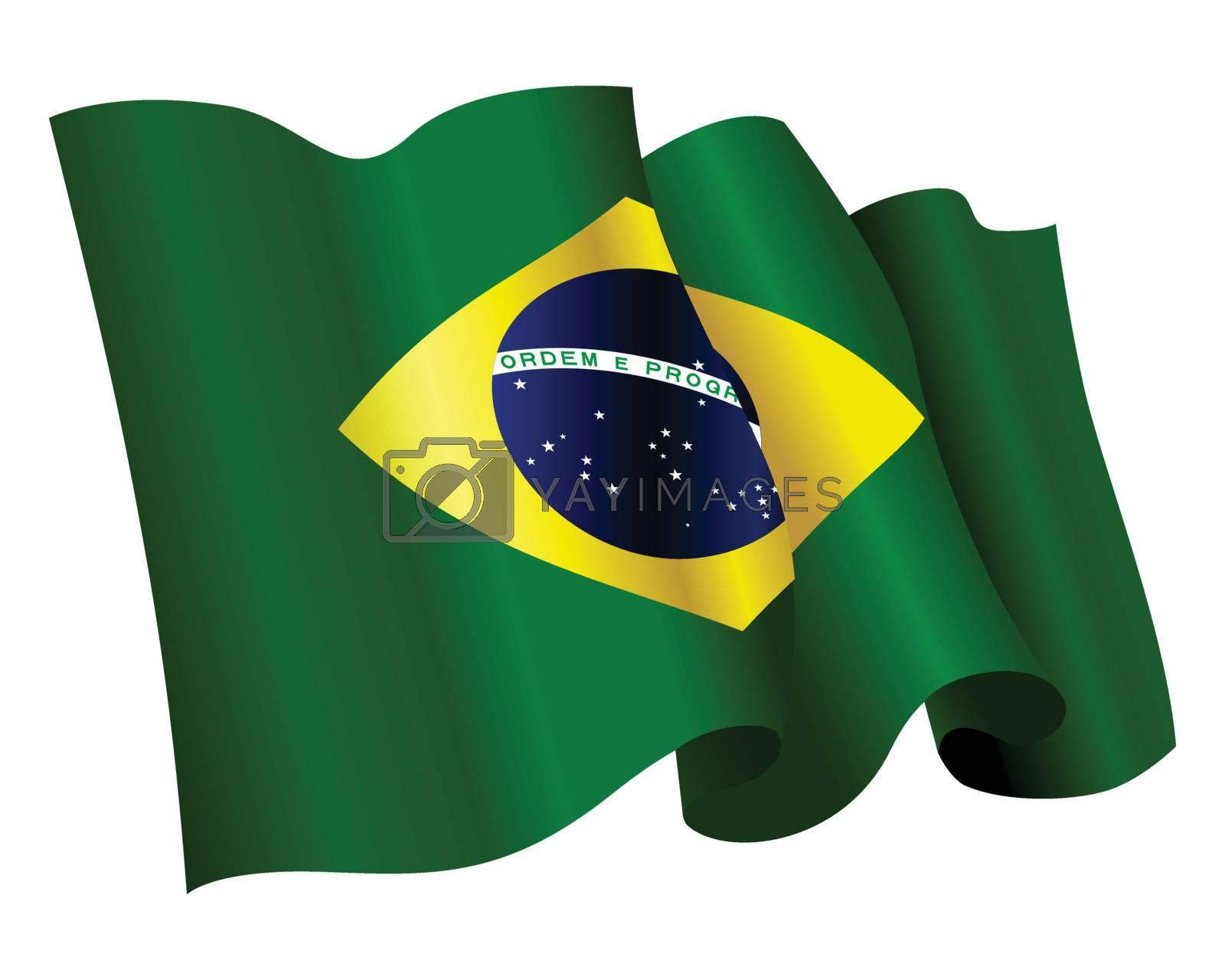 floating, streaming Flag of Brazil on white background