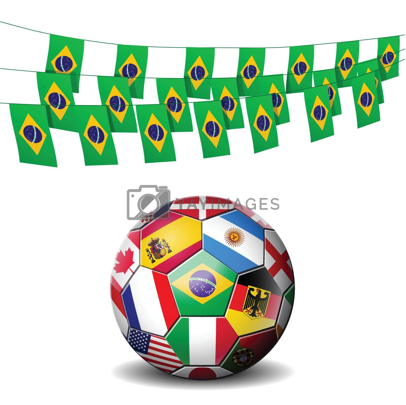 Brazil soccer football decorated with flags of Brazil