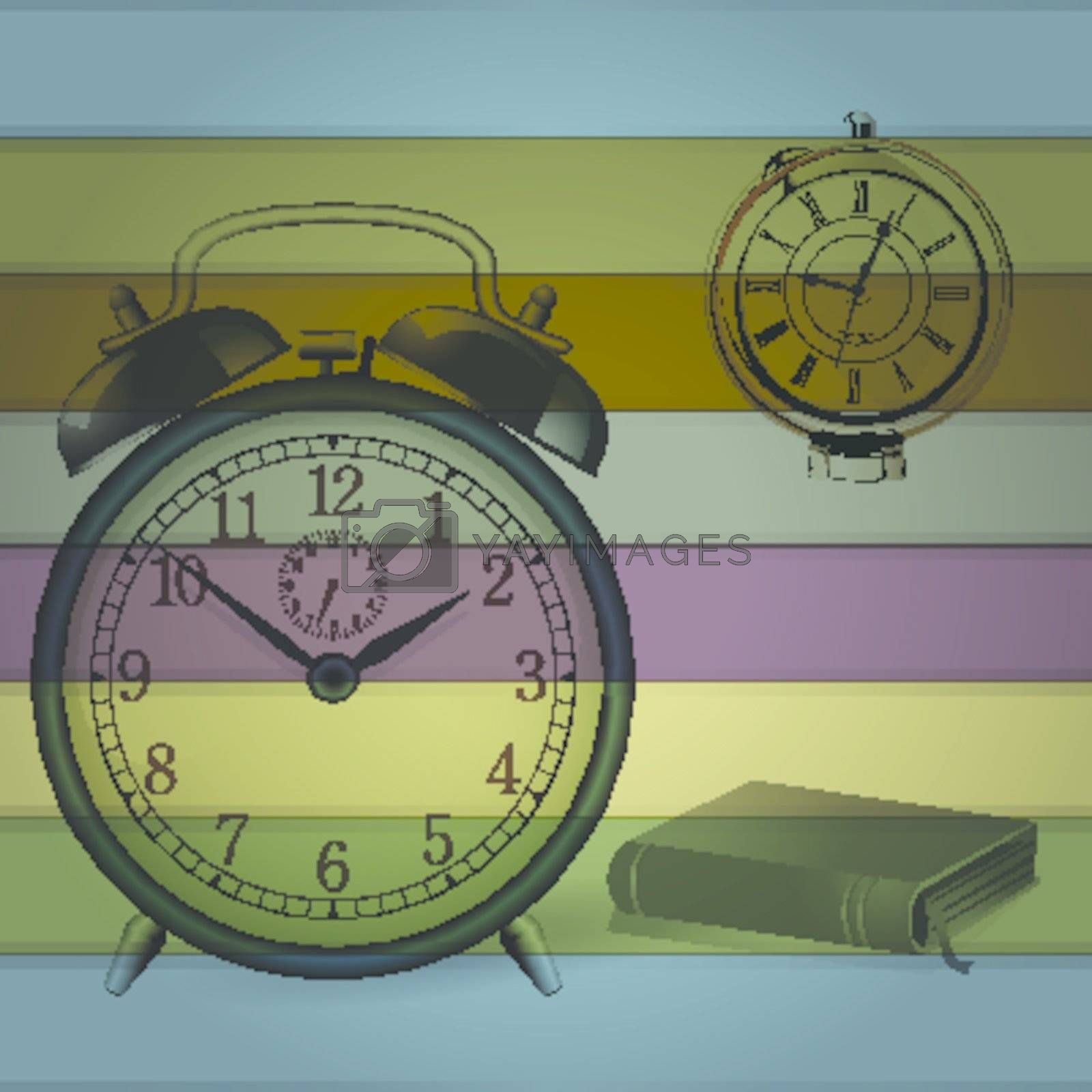 Retro Alarm clock with colorful background