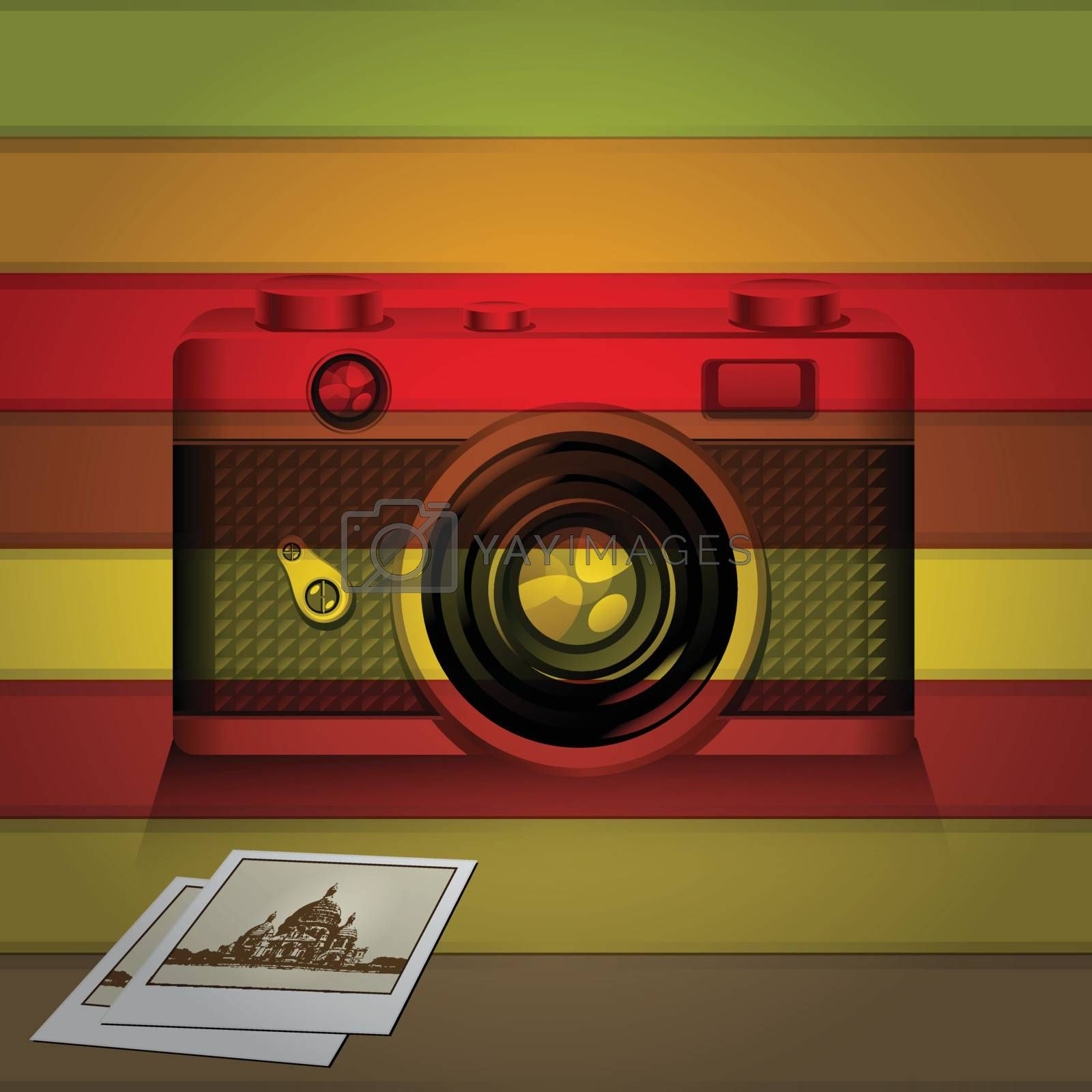 Retro camera and photo memories with colorful background