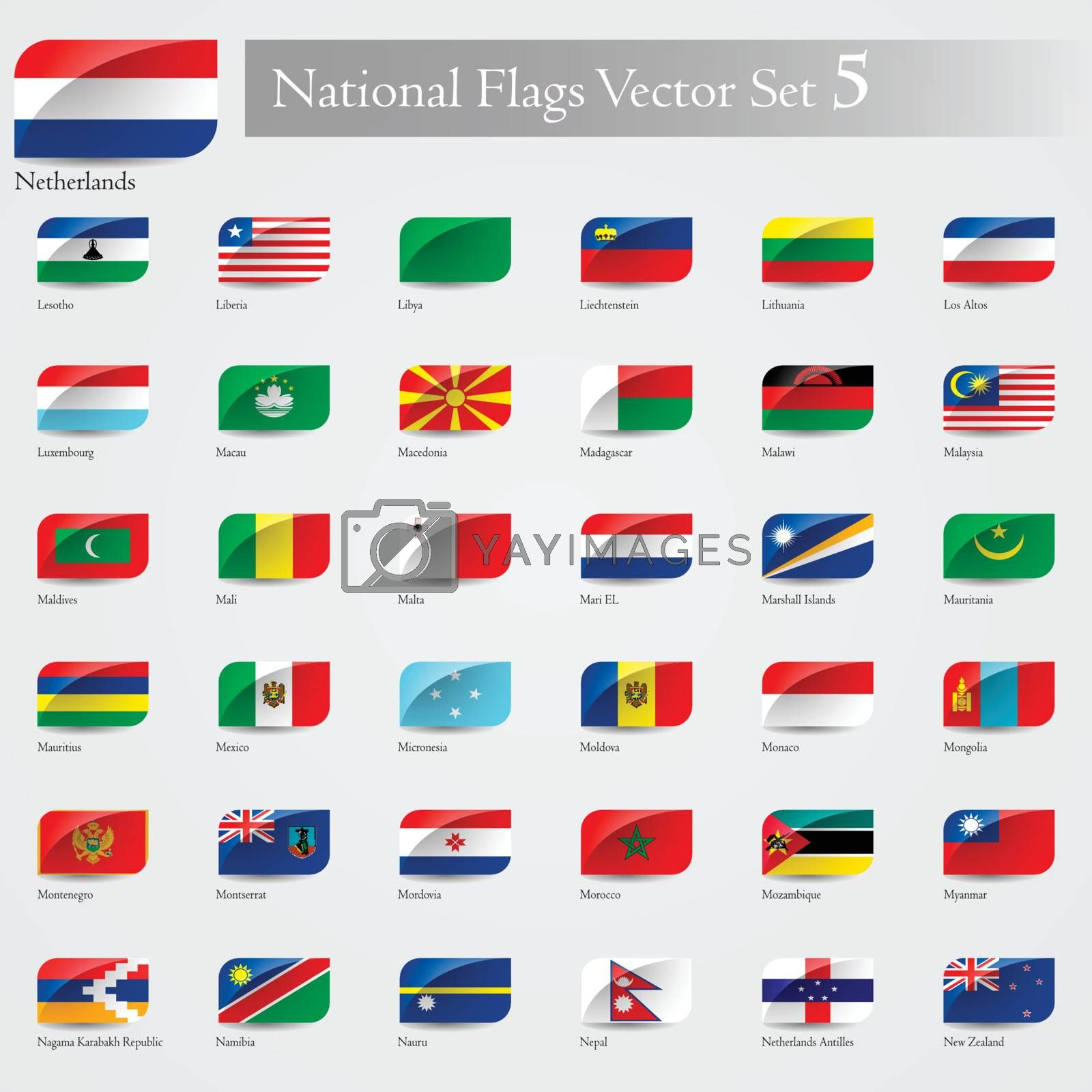 National Flags of the world emboss and round corner set 5