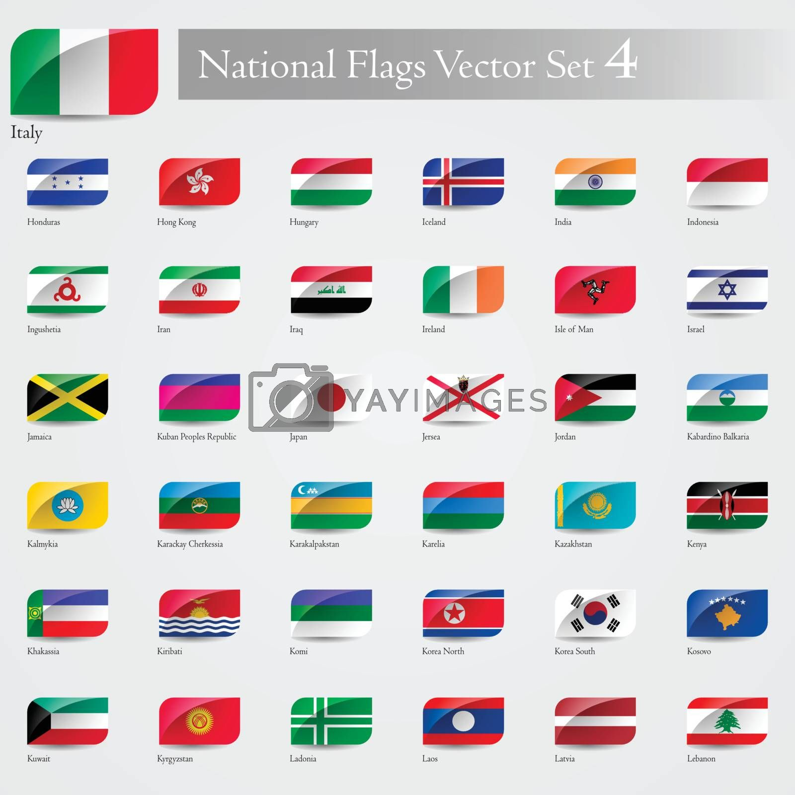 National Flags of the world emboss and round corner set 4