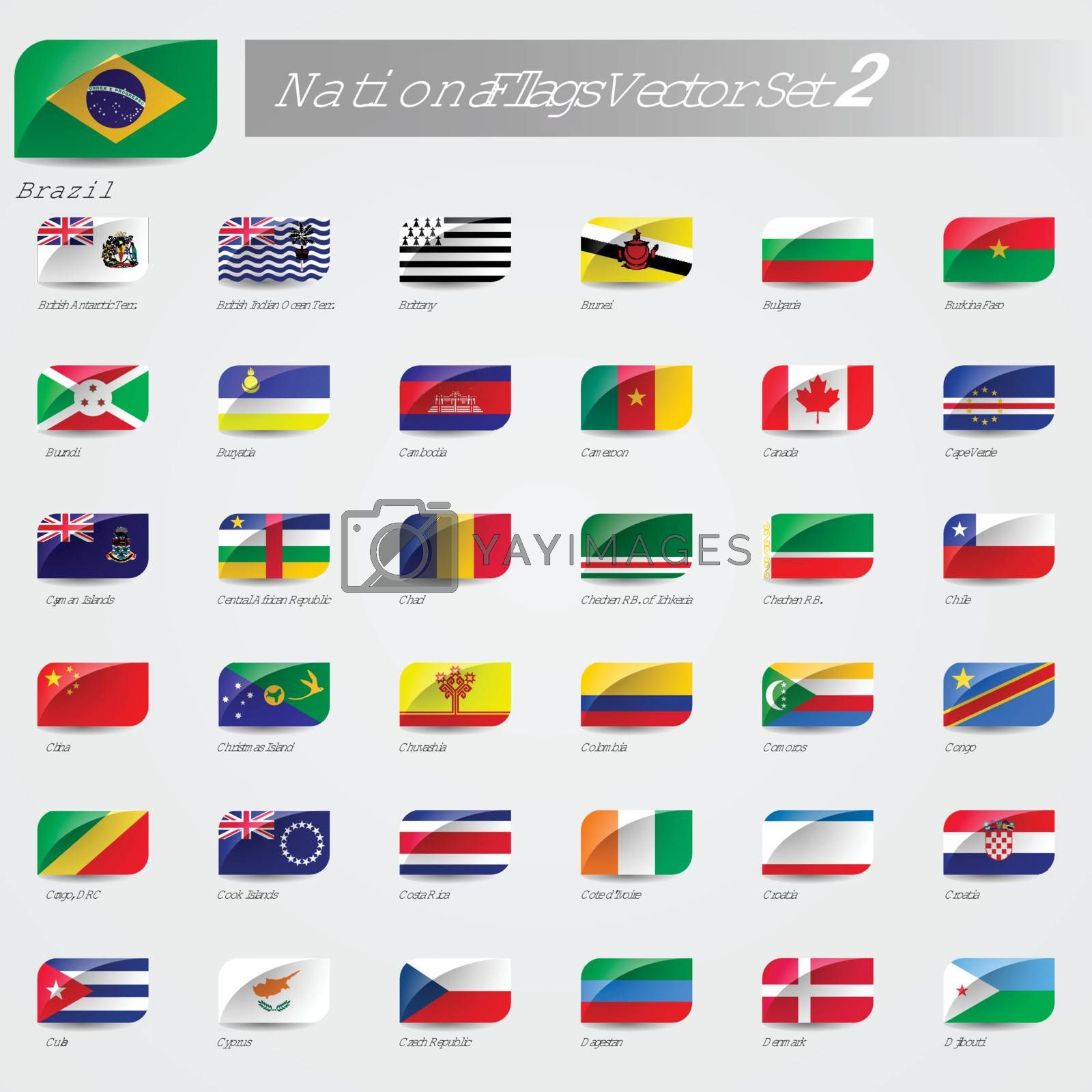 National Flags of the world emboss and round corner set 2