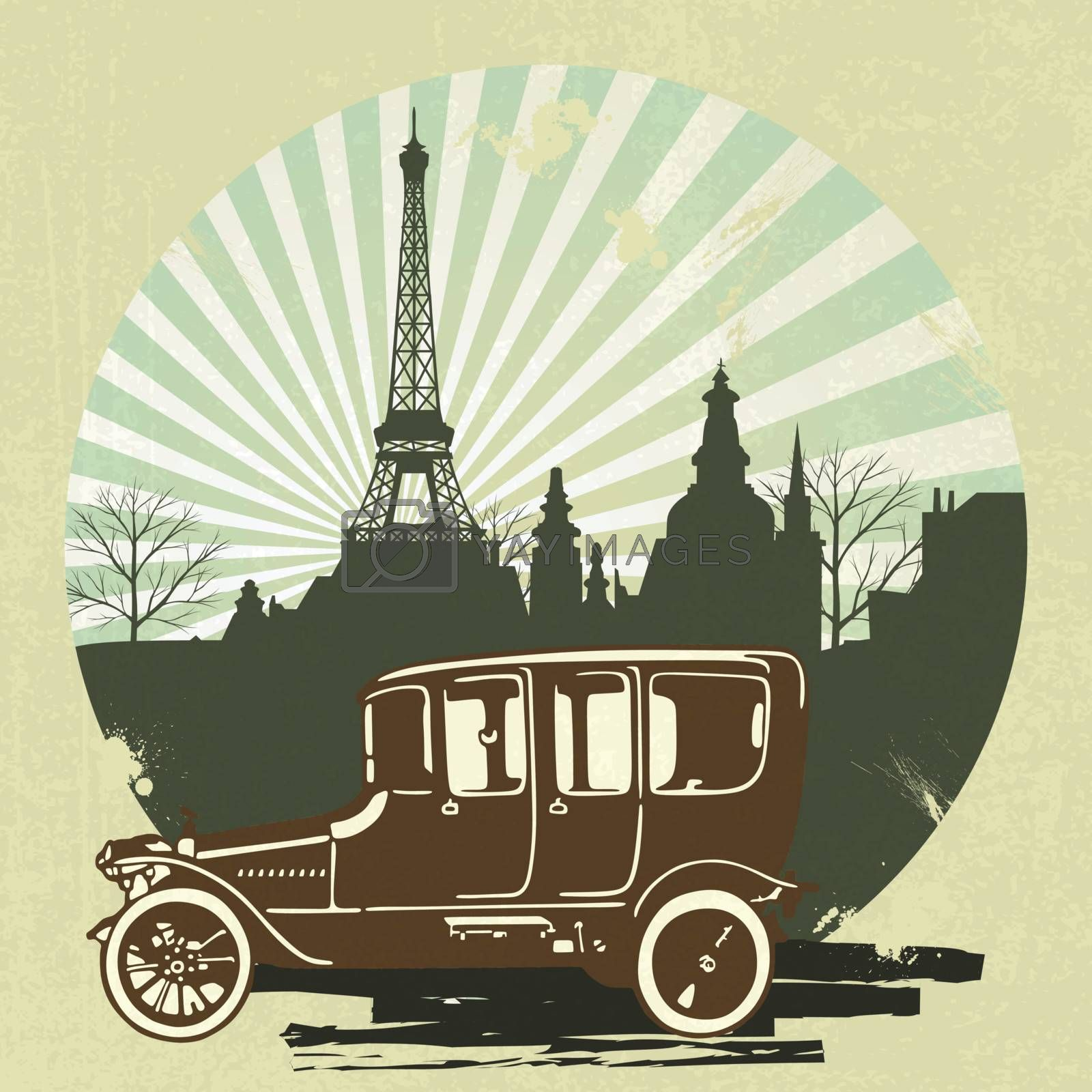 classic retro car with vintage Eiffel Tower background