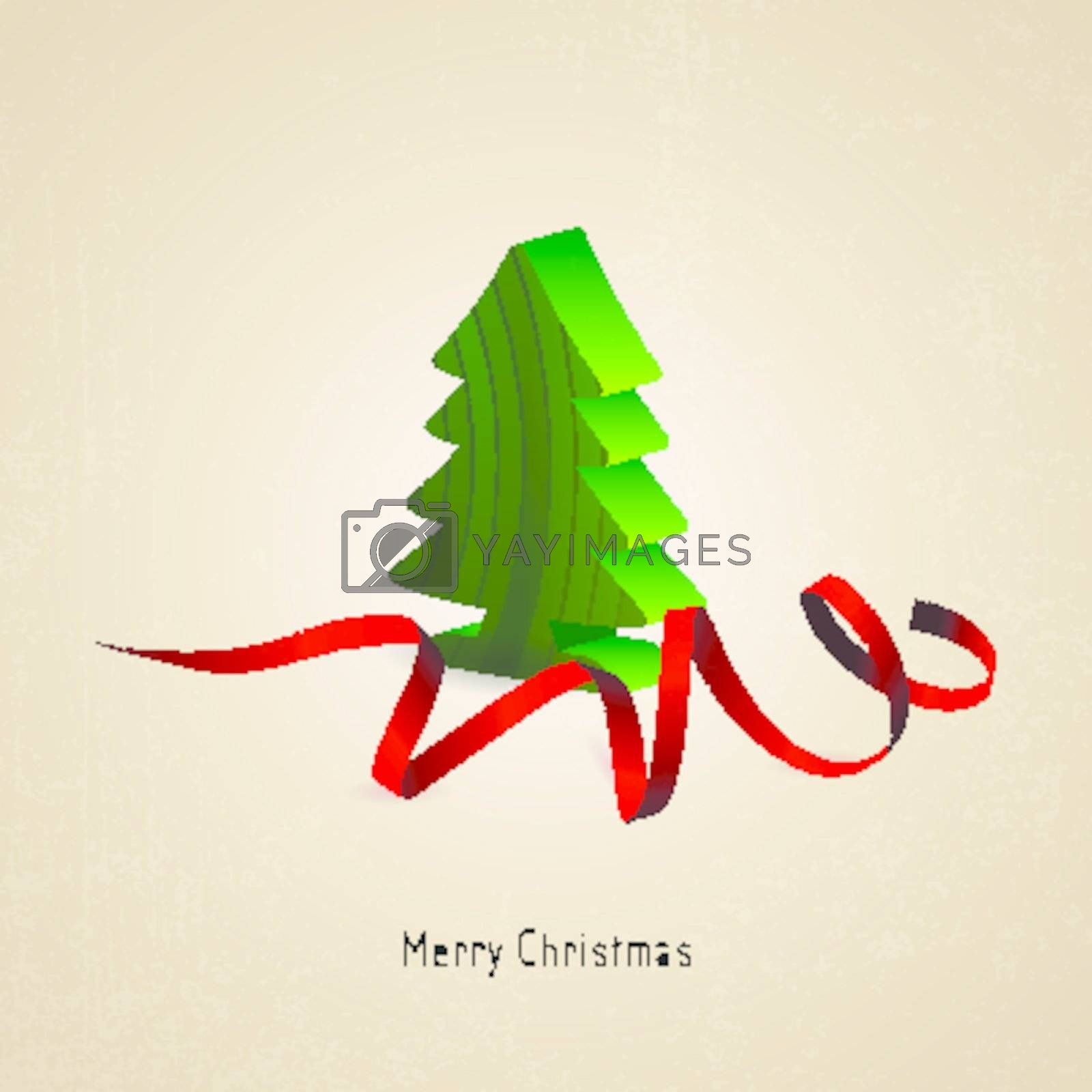 Christmas card with Christmas tree wood and red ribbon