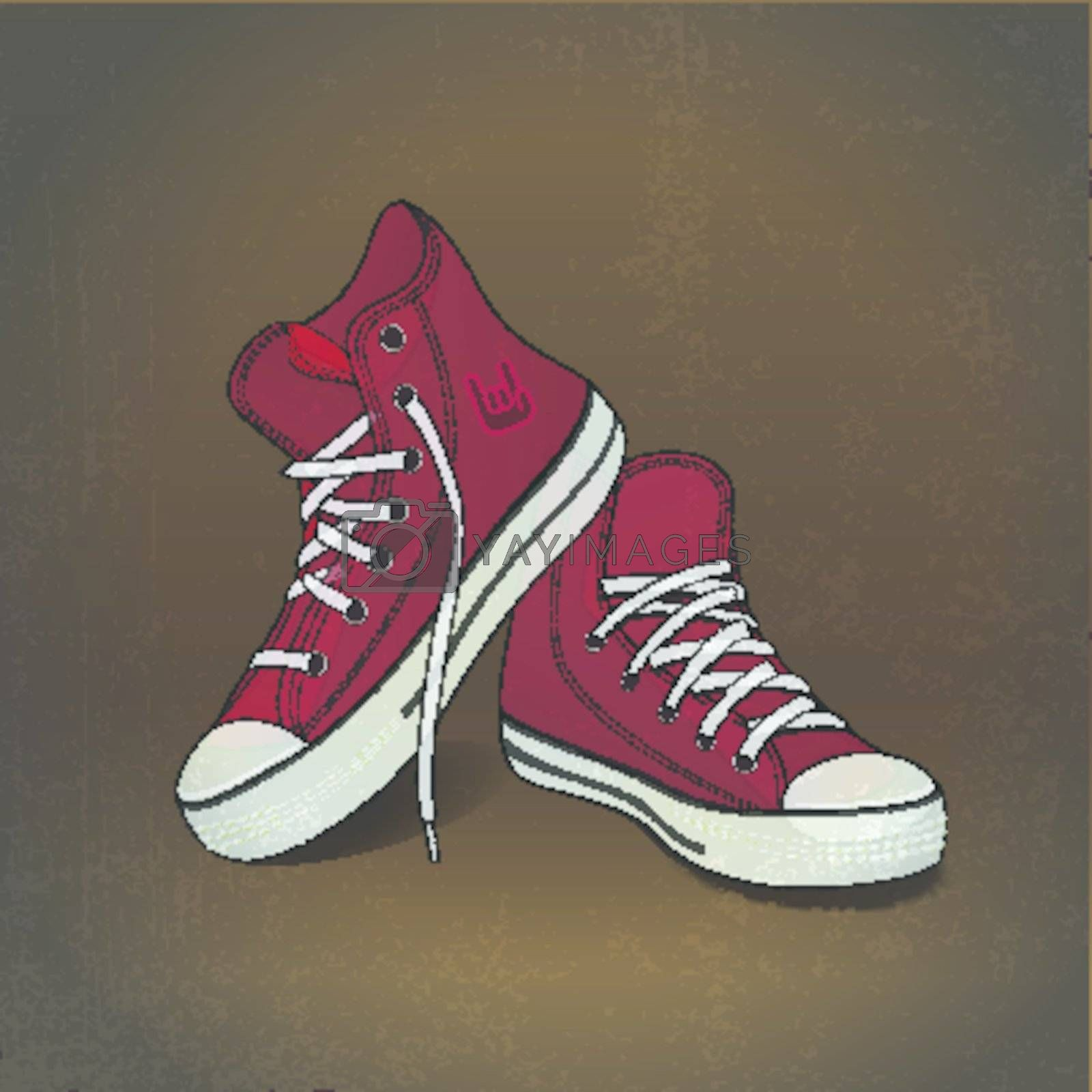 illustration red sneakers on grunge background