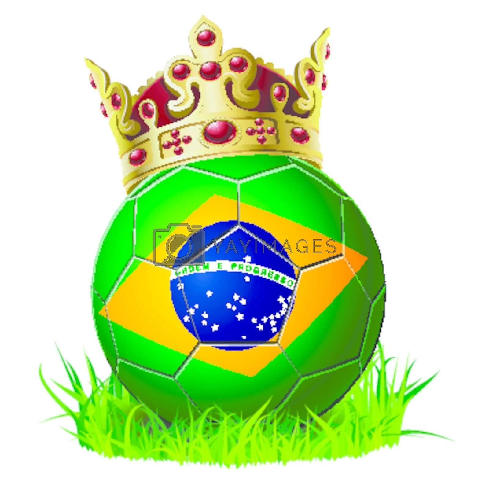king of soccer football Brazil with cown and grass