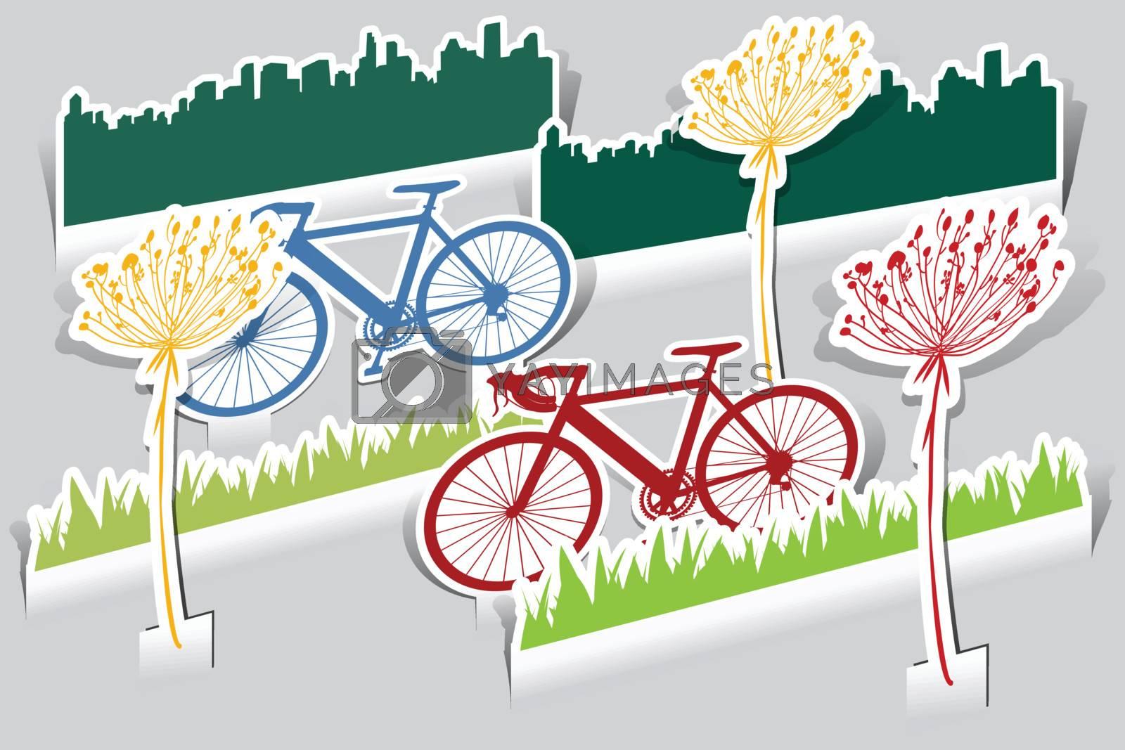 set of paper cut bike, grass,bike, grass, flower icon