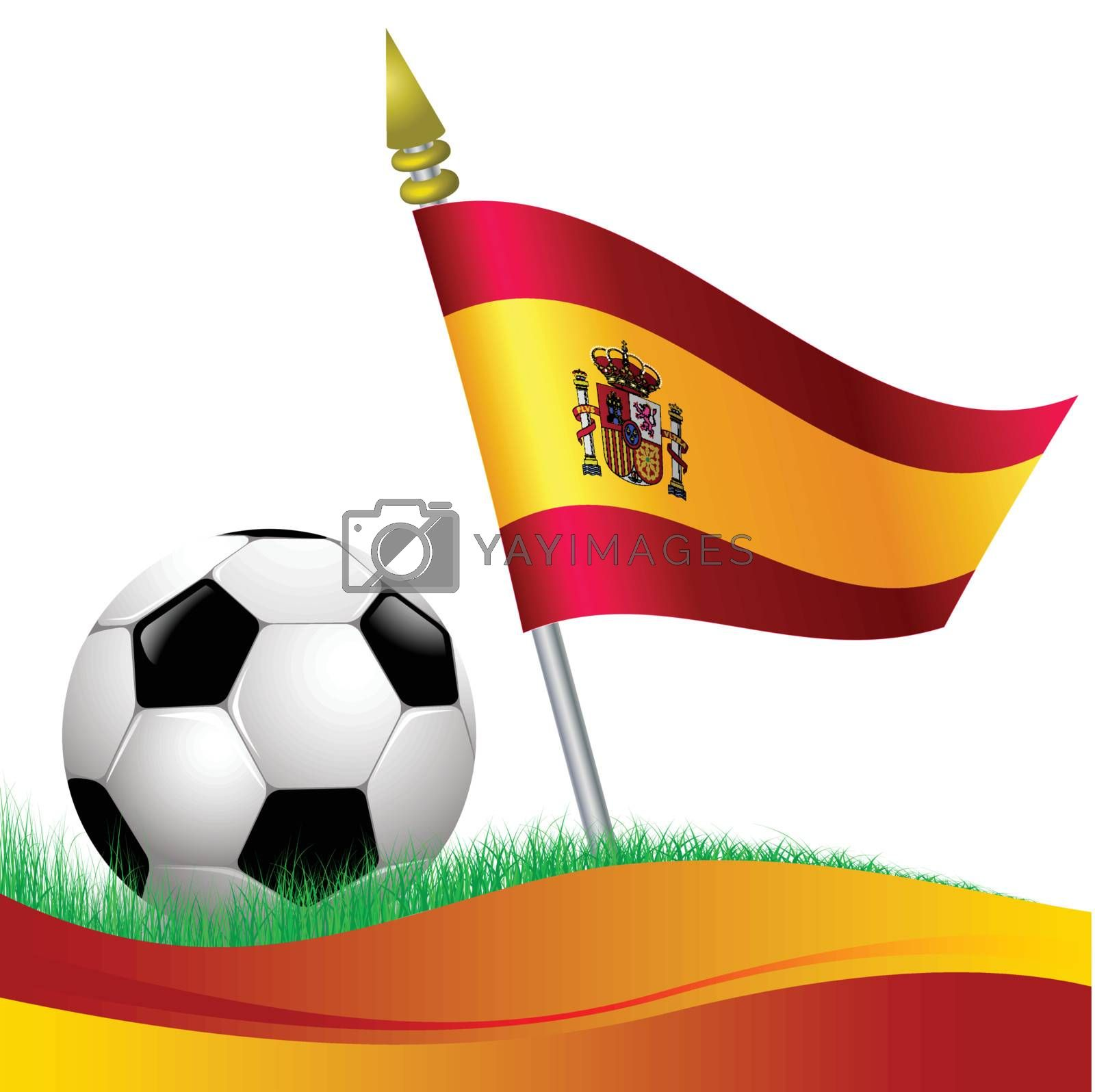 soccer football with Spain flag waving at background