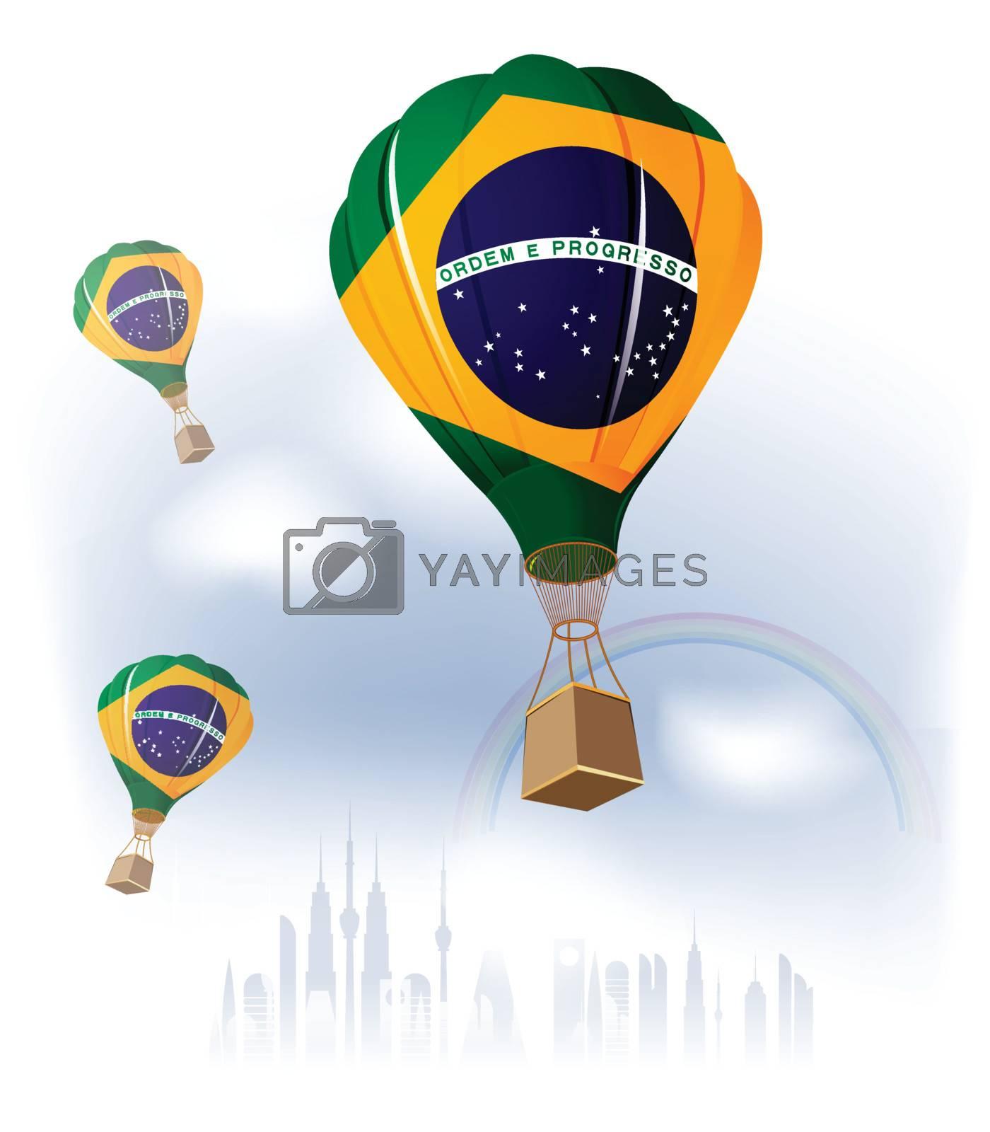 Air Balloon Brazilian Flag flying on sky