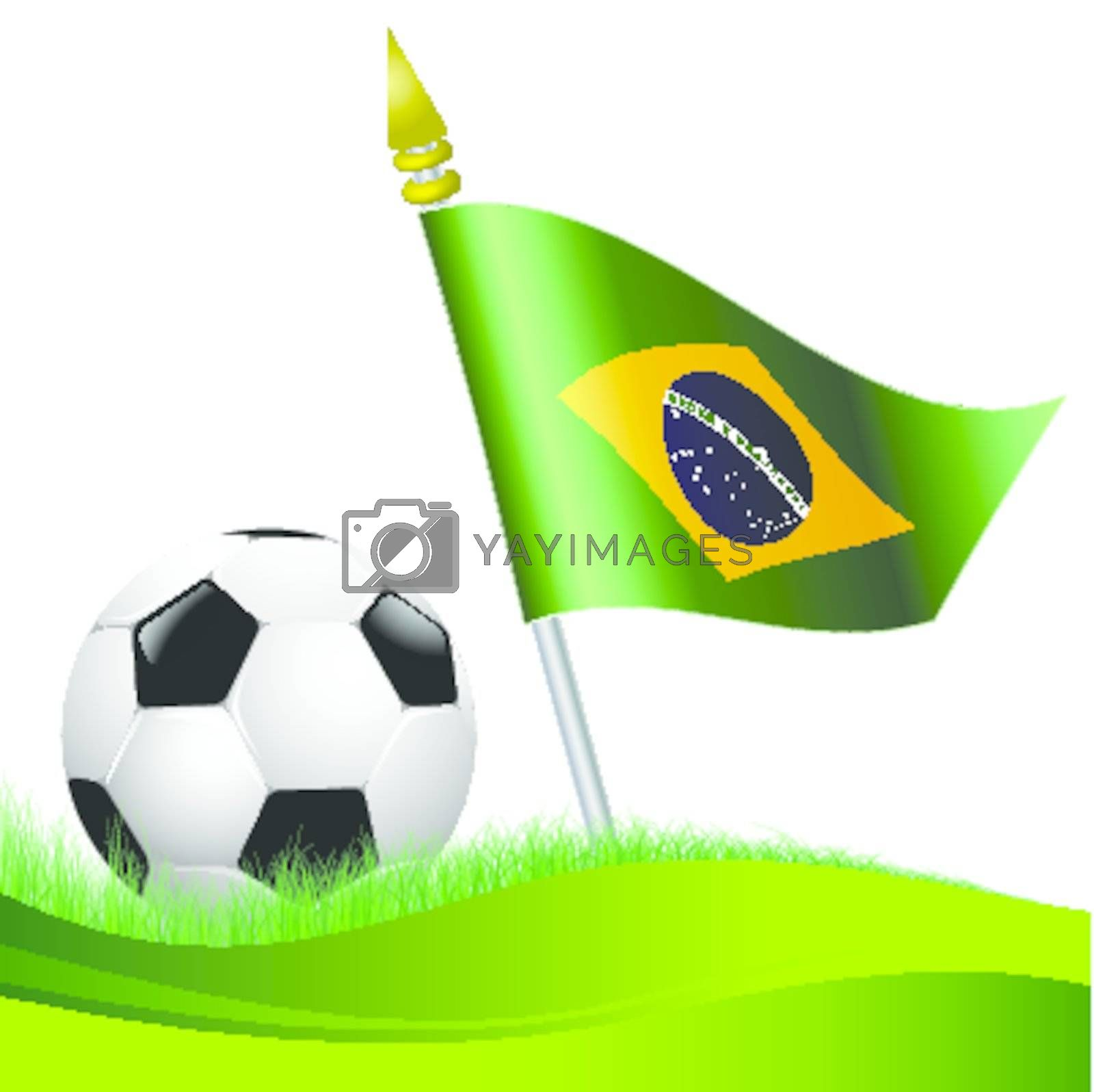 soccer football with Brazil flag waving at background