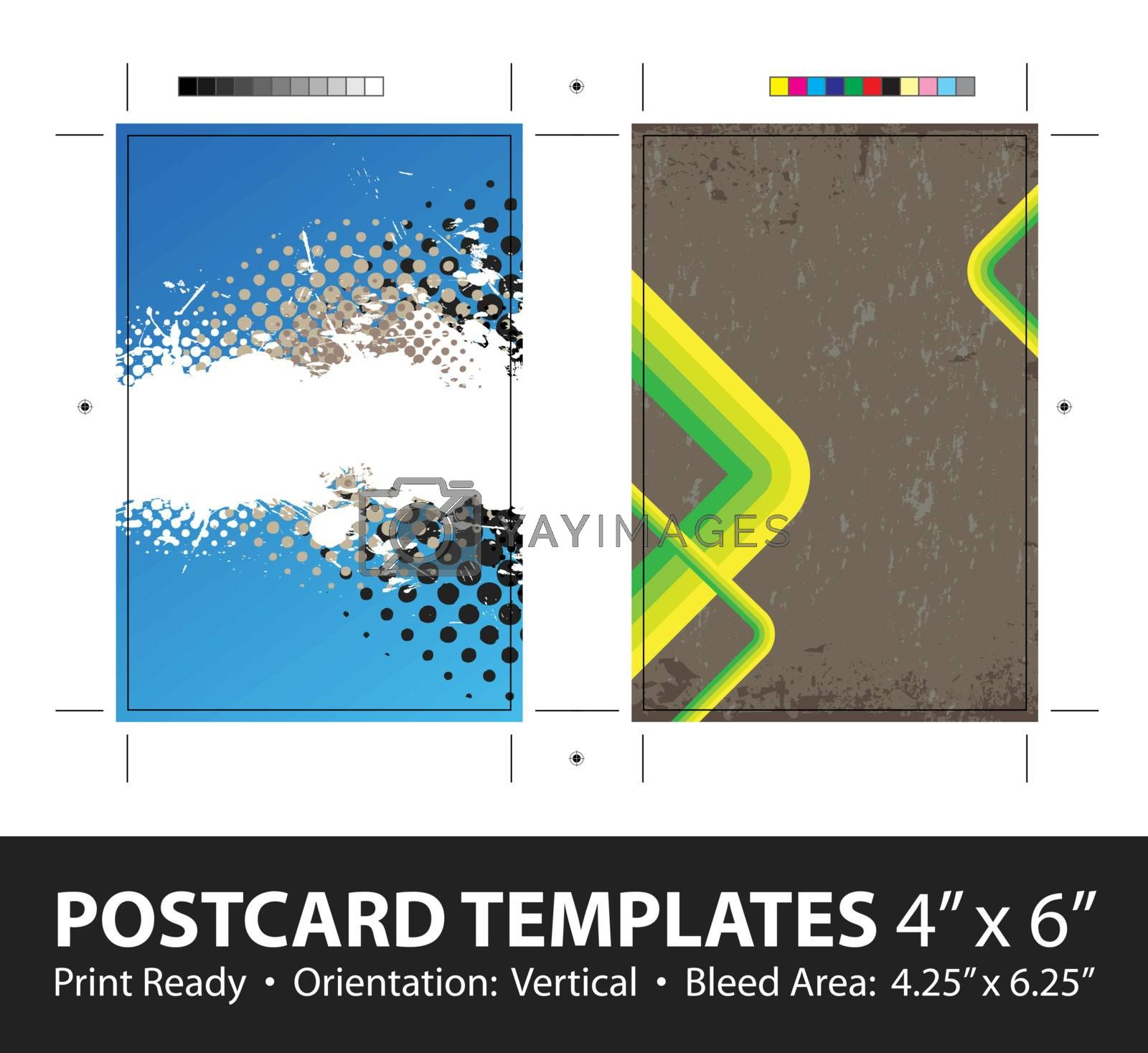Grunge stripes postcard or direct mailer design template set with copy space. Customize this vector to suit the needs of your business. Print ready 4 x 6 with bleeds and crop marks.