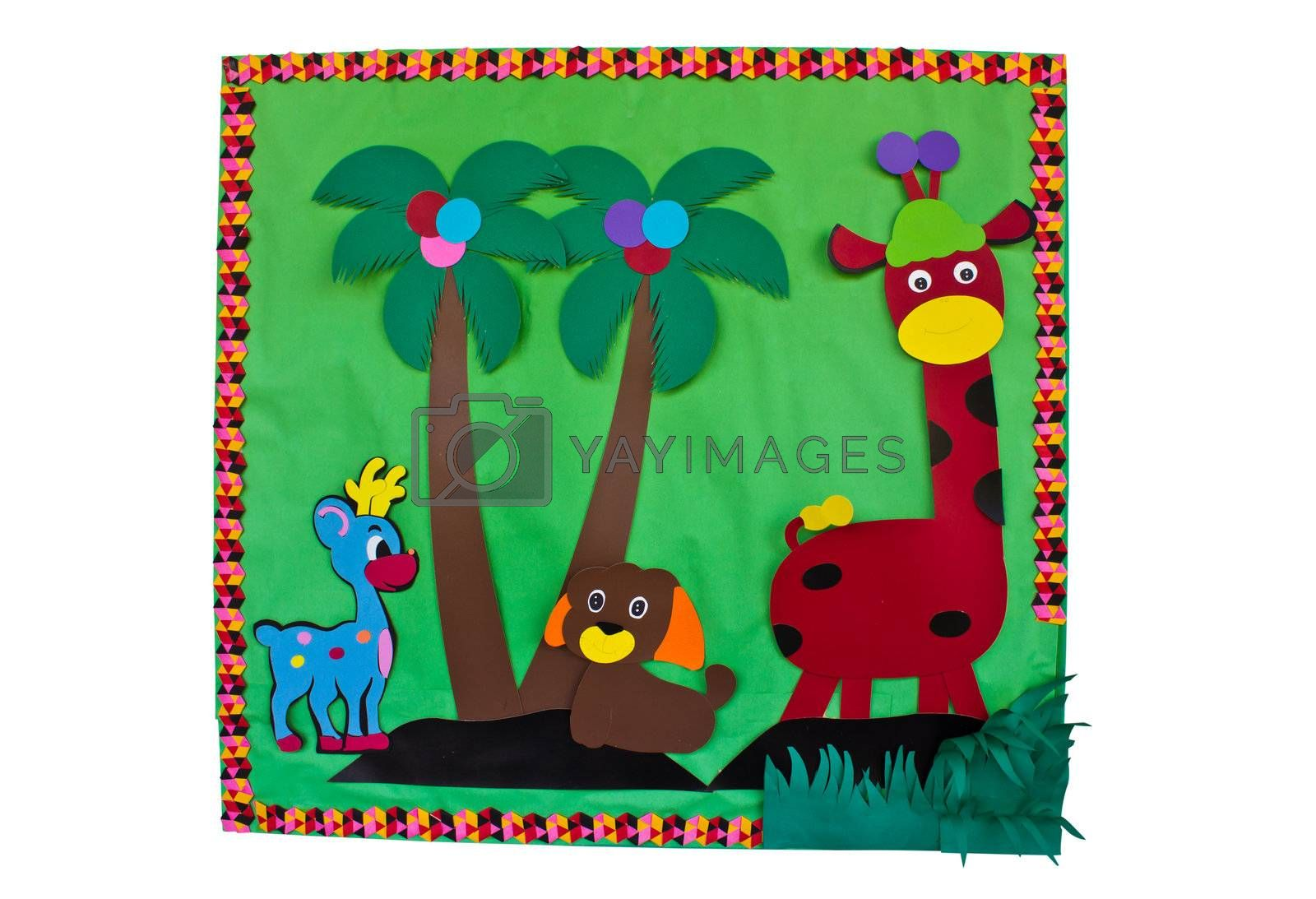 papercraft animals with flower in green background , my handmade